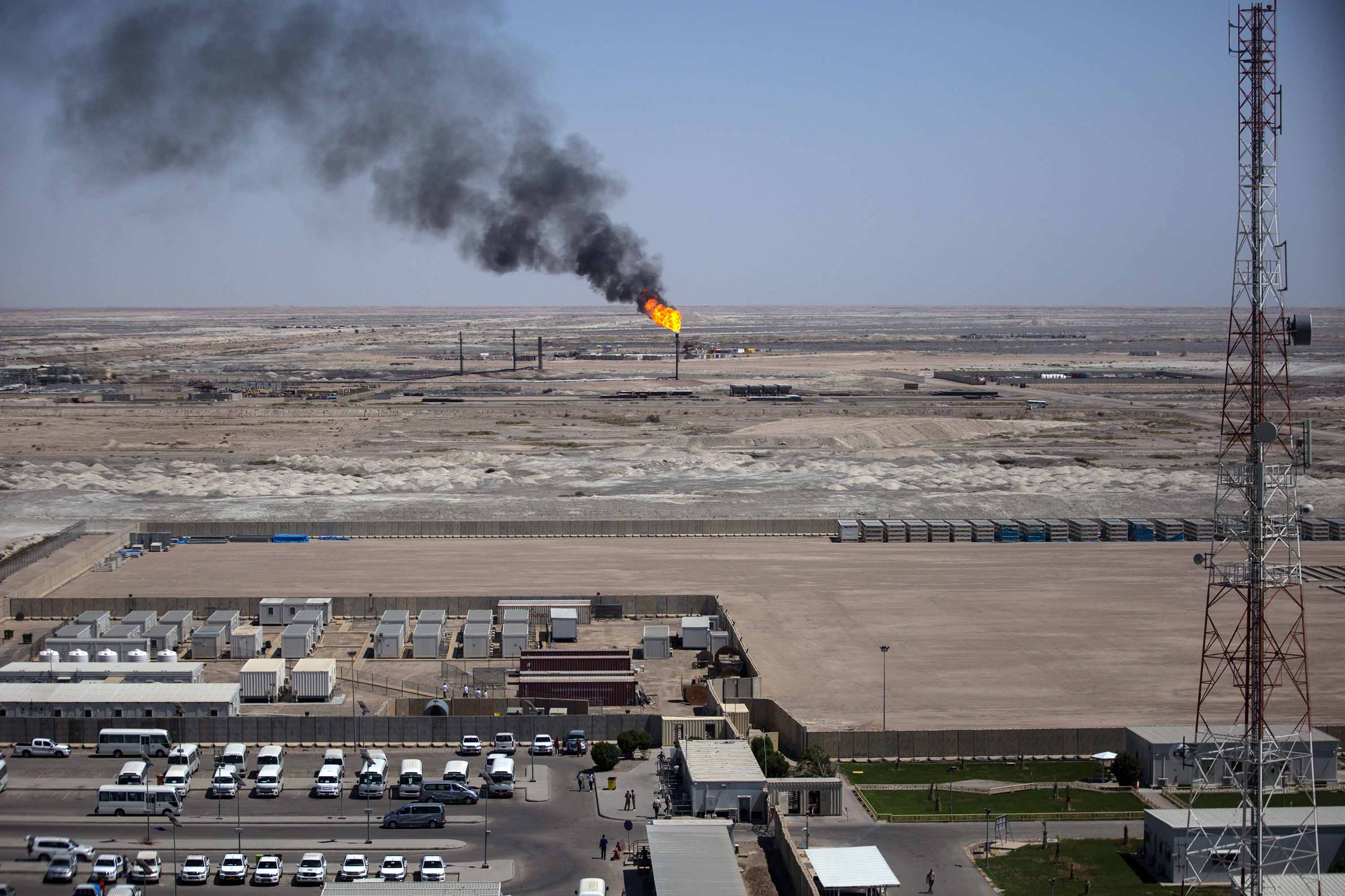 A picture taken on July 15, 2019 shows Iraq's Majnoon oil field, some 40 kilometers from the eastern border with Iran, north of the Iraqi city of Basra. Credit: Hussein Faleh/AFP via Getty Images