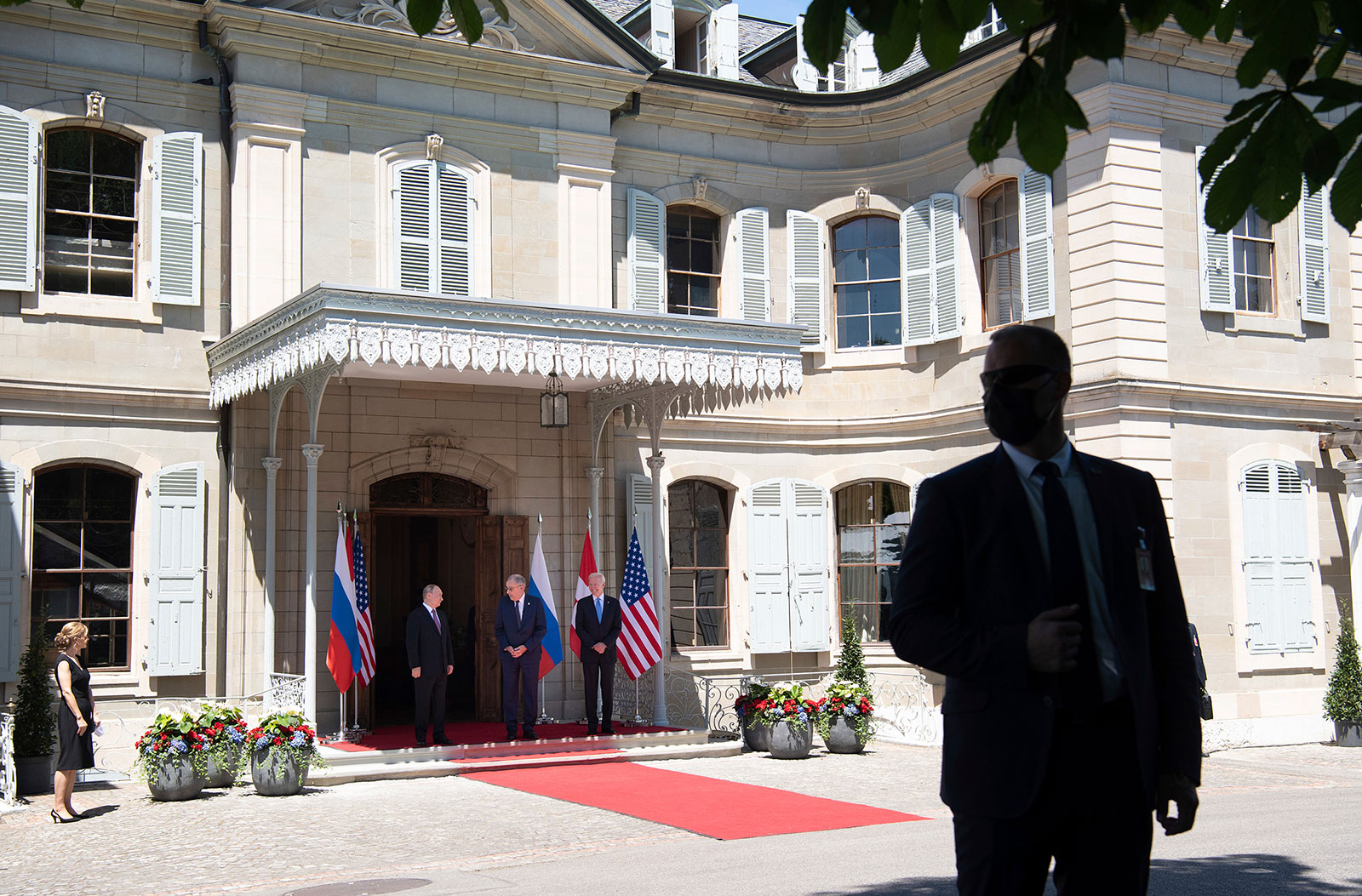 Swiss President Guy Parmelin greets US President Joe Biden and Russian President Vladimir Putin at the Villa la Grange in Geneva on Wednesday.