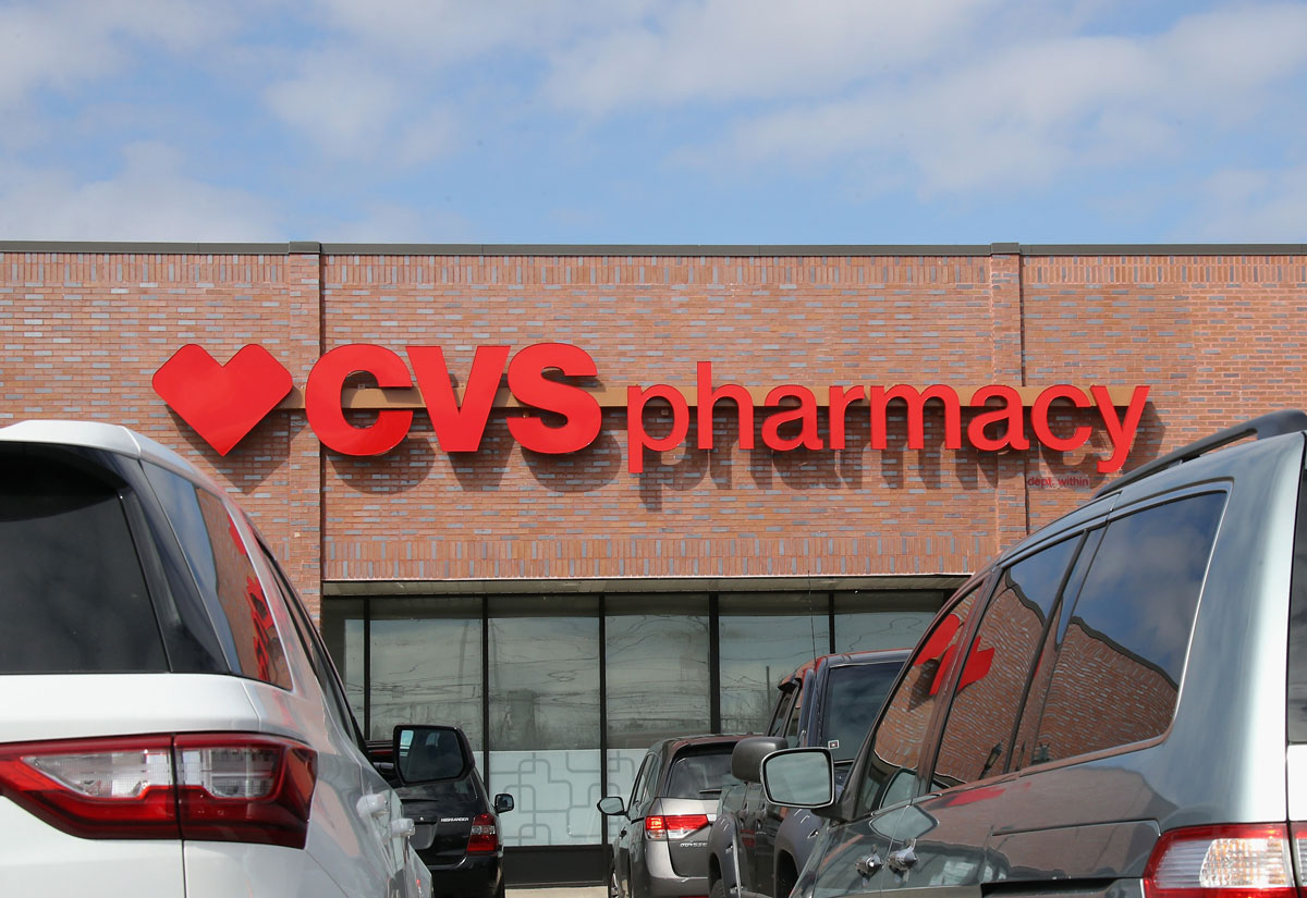A CVS Pharmacy sign is photographed on March 16 in Wantagh, New York.