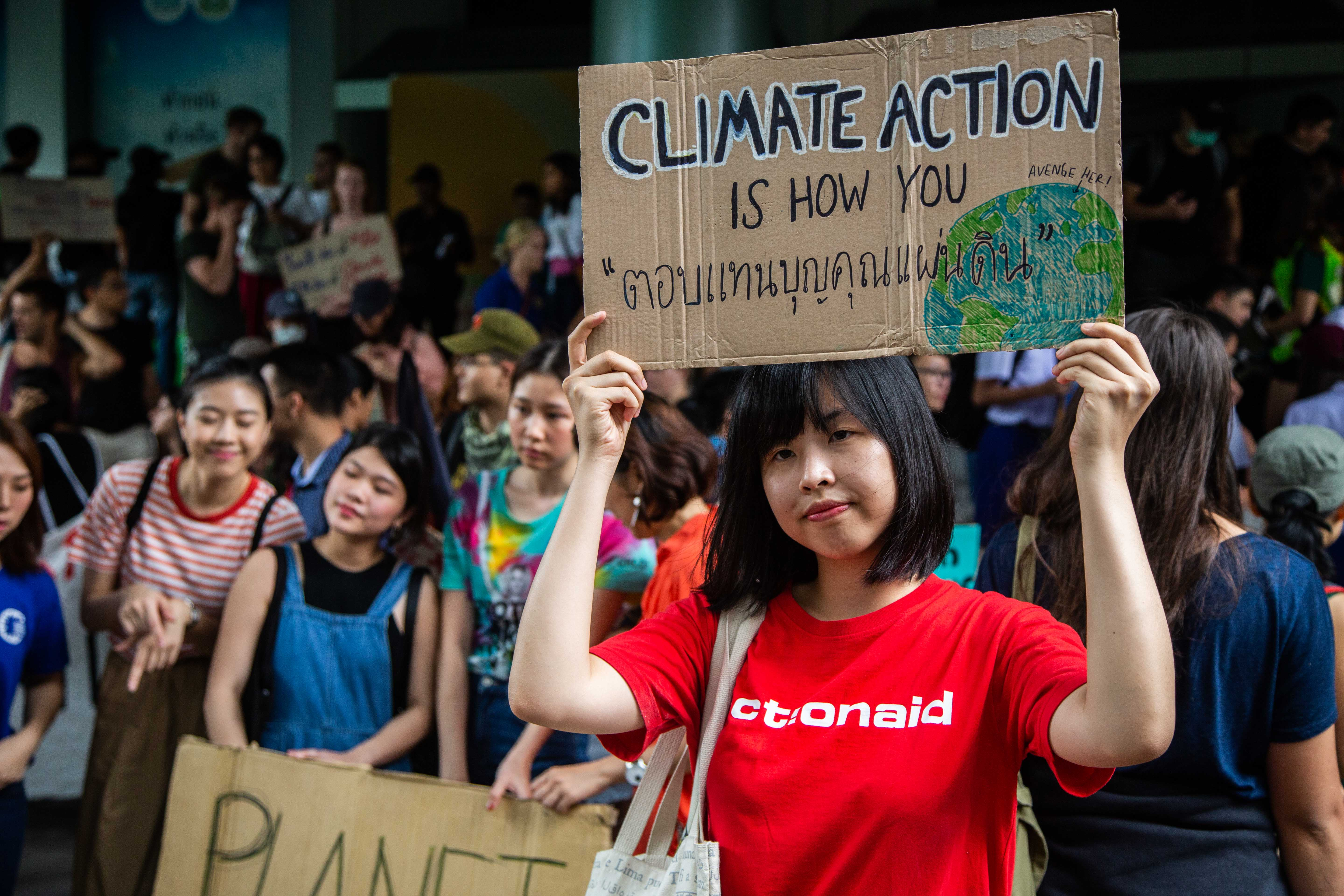 Climate protest in front of the Ministry of Natural Resources and Environment on September 20, 2019 in Bangkok, Thailand.