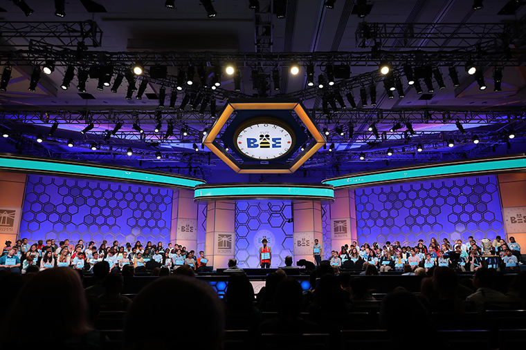 Students fill the stage during the second round of the Scripps National Spelling Bee on May 28, 2019 in National Harbor, Maryland.