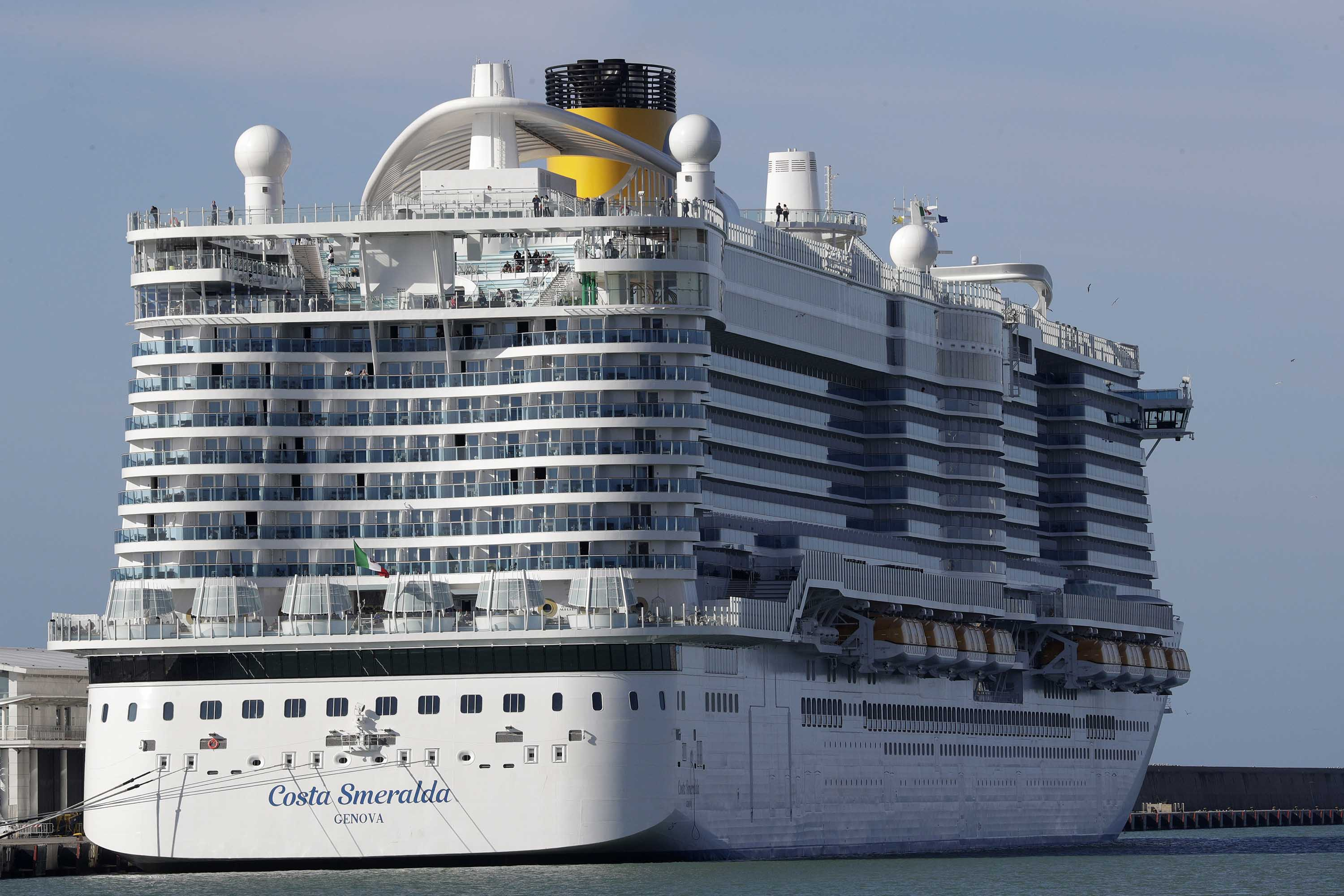 The Costa Smeralda cruise ship is seen docked at the Civitavecchia port near Rome, Italy, on Thursday.