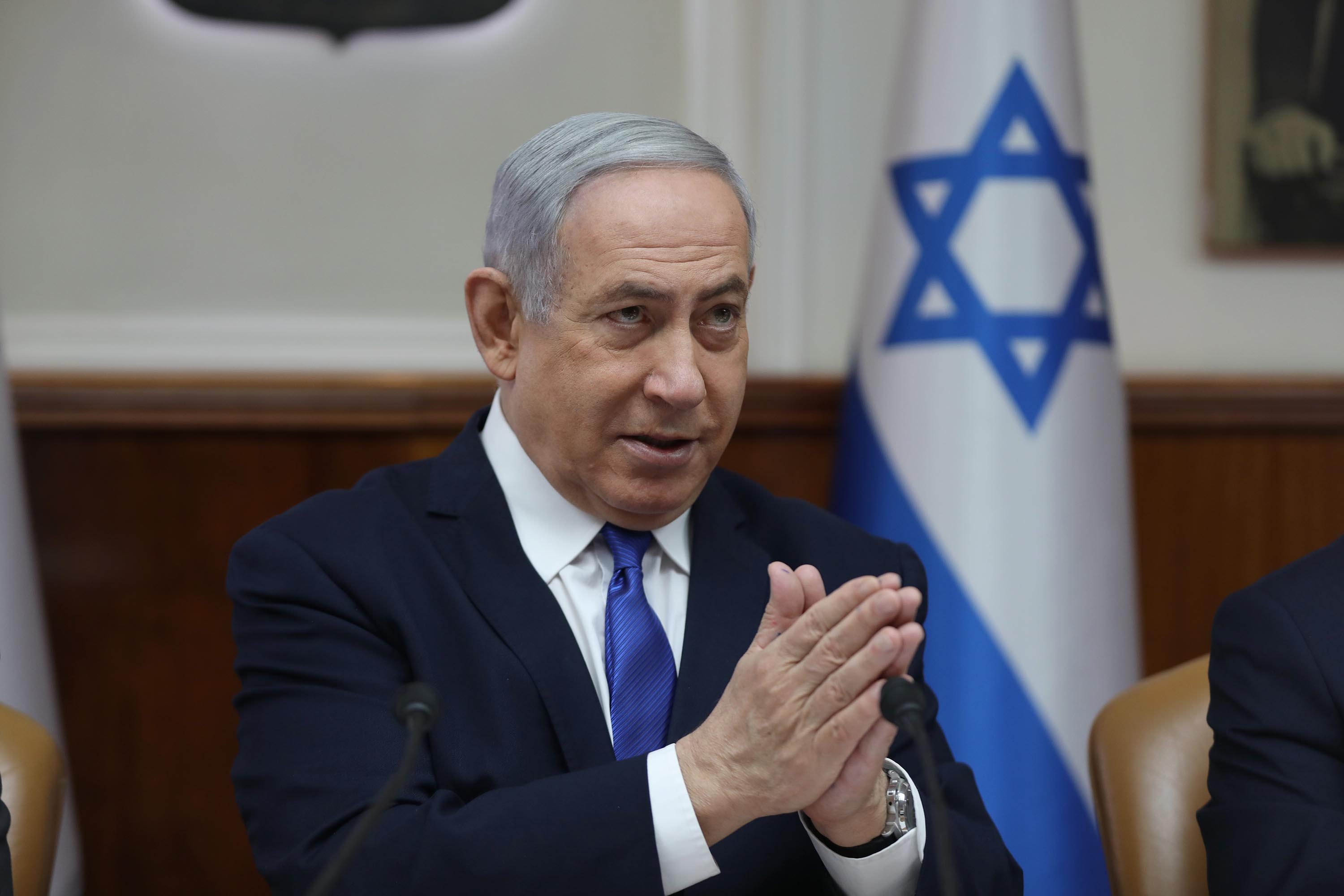 Israeli Prime Minister Benjamin Netanyahu speaks during a weekly cabinet meeting in Jerusalem, on December 29. Credit: Abir Sultan/Pool/AFP via Getty Images.