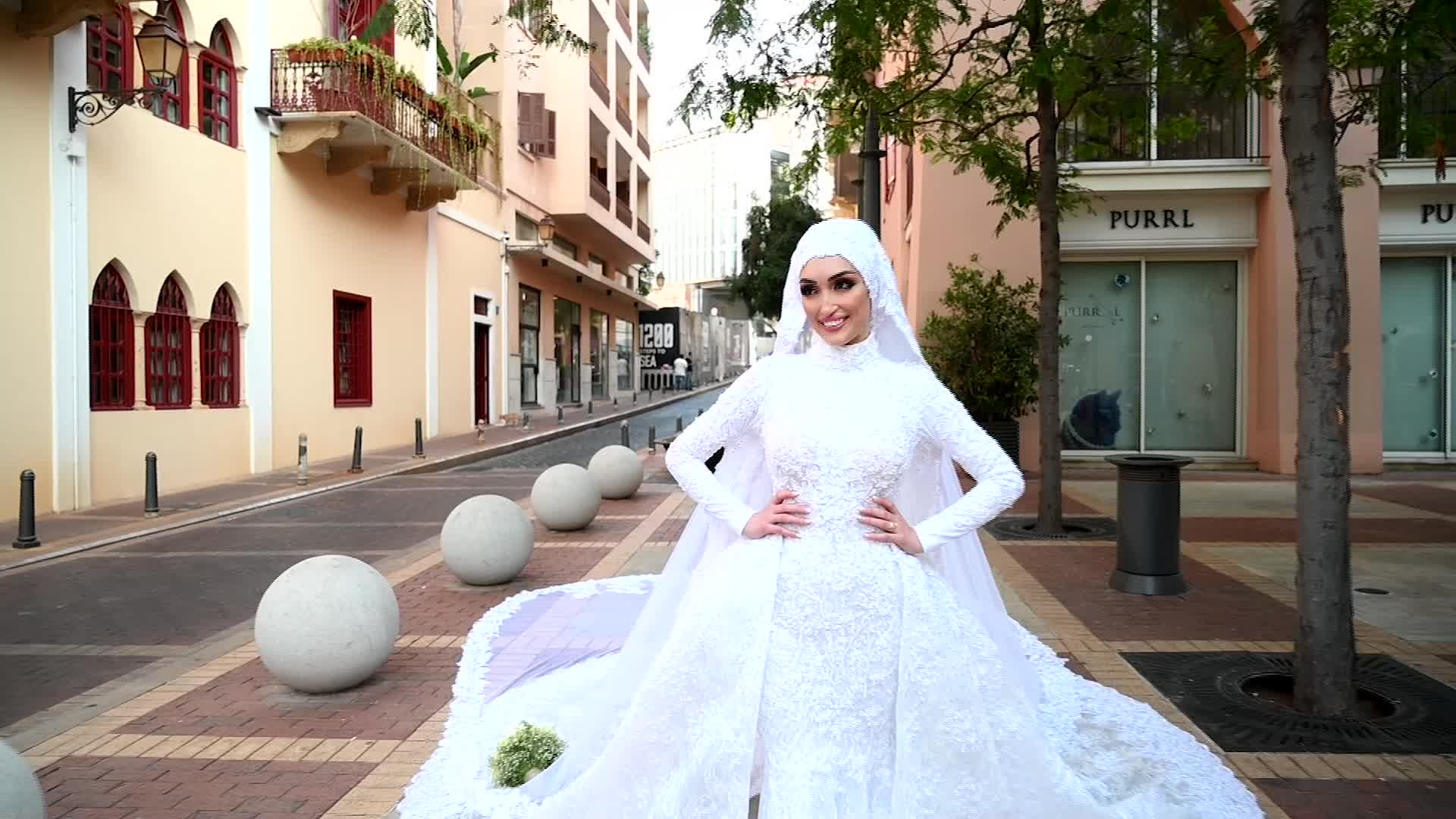 Dr. Israa Seblani poses for her wedding photos in Beirut, Lebanon, on August 4.