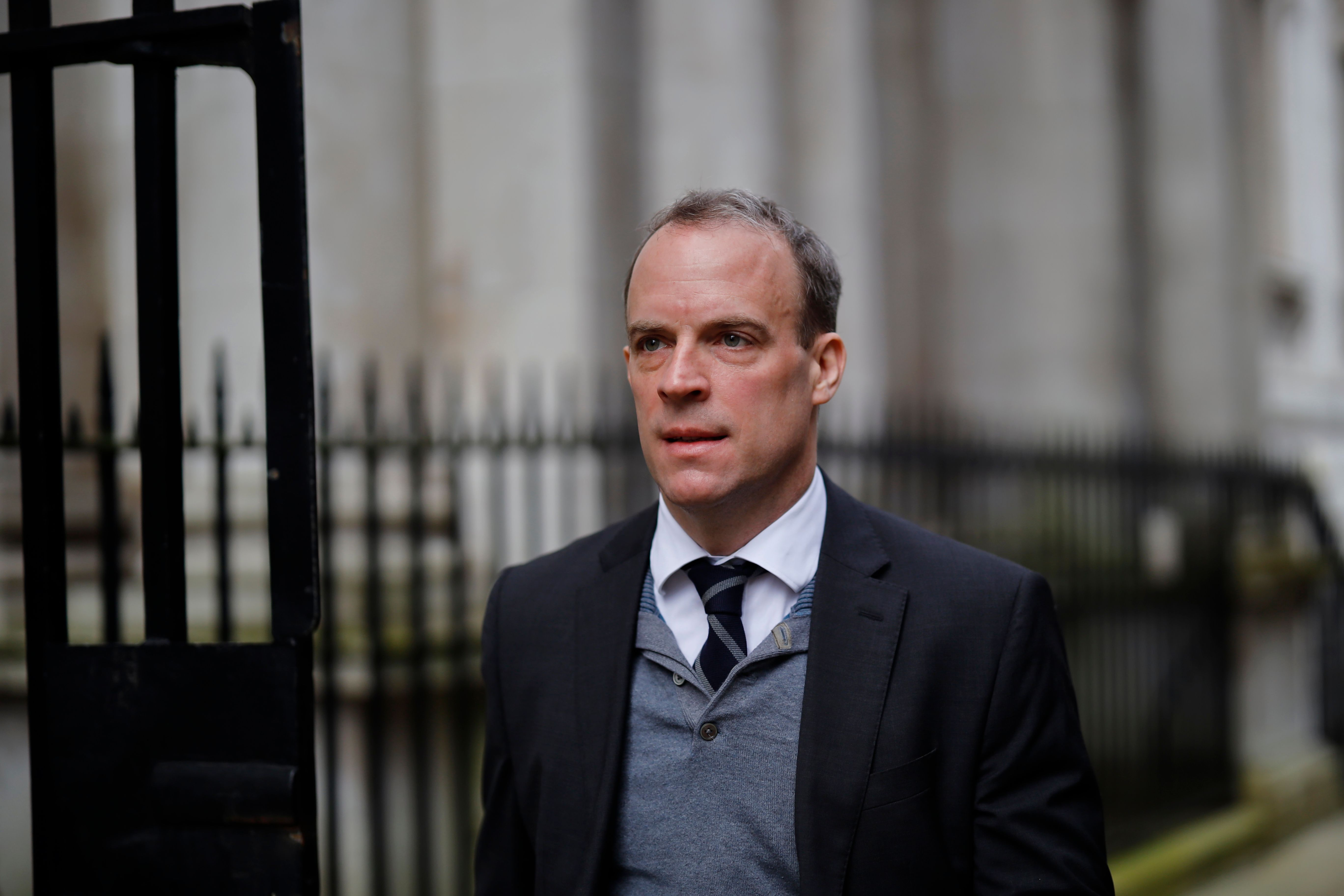 Britain's Foreign Secretary Dominic Raab arrives for a meeting of the cabinet at 10 Downing Street on March 11.