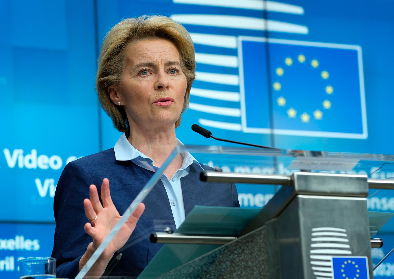 European Commission President Ursula Von Der Leyen gives a press conference in Brussels, on April 23.