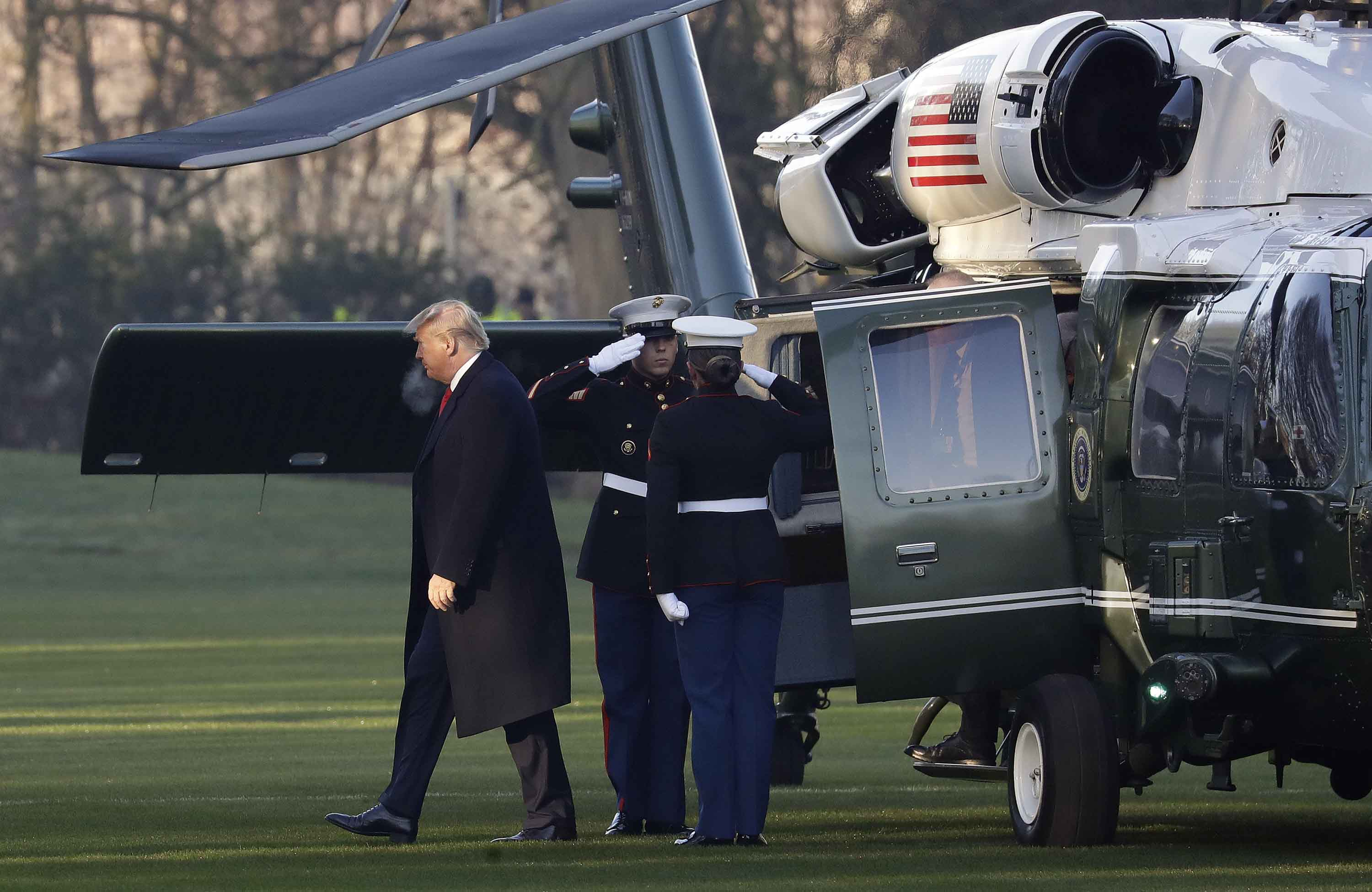 President Trump arrives at The Grove hotel and resort in Watford, Hertfordshire, England, Wednesday, December 4. Photo: Evan Vucci/AP