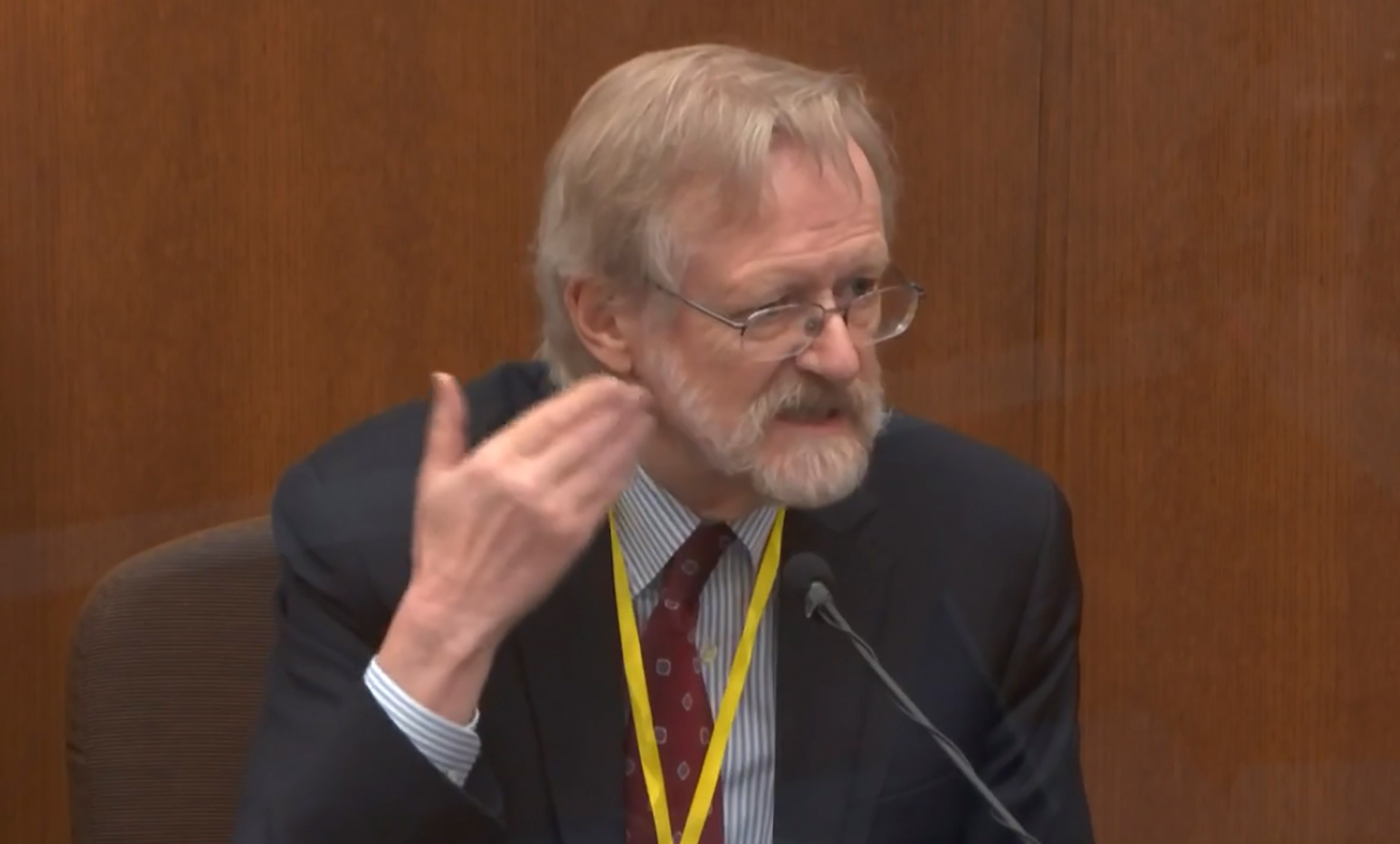 Dr. Martin Tobin testifies on April 8 at Hennepin County Courthouse in the trial of former Minneapolis police Officer Derek Chauvin.