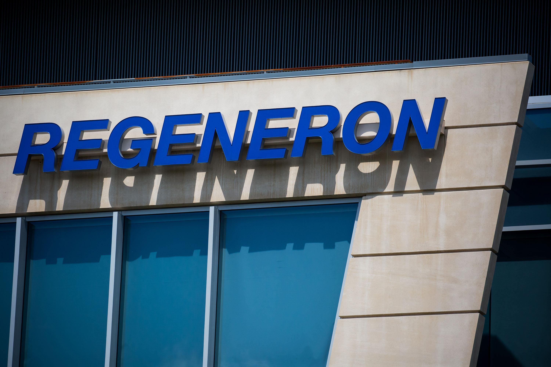 Regeneron Pharmaceuticals Inc. signage on its headquarters in Tarrytown, New York in June 2020.