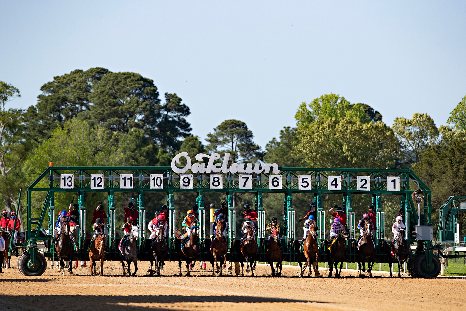 The start of the 10th race at Oaklawn Racing Casino Resort on Derby Day during the Covid-19 pandemic on Saturday, May 2, in Hot Springs, Arkansas.