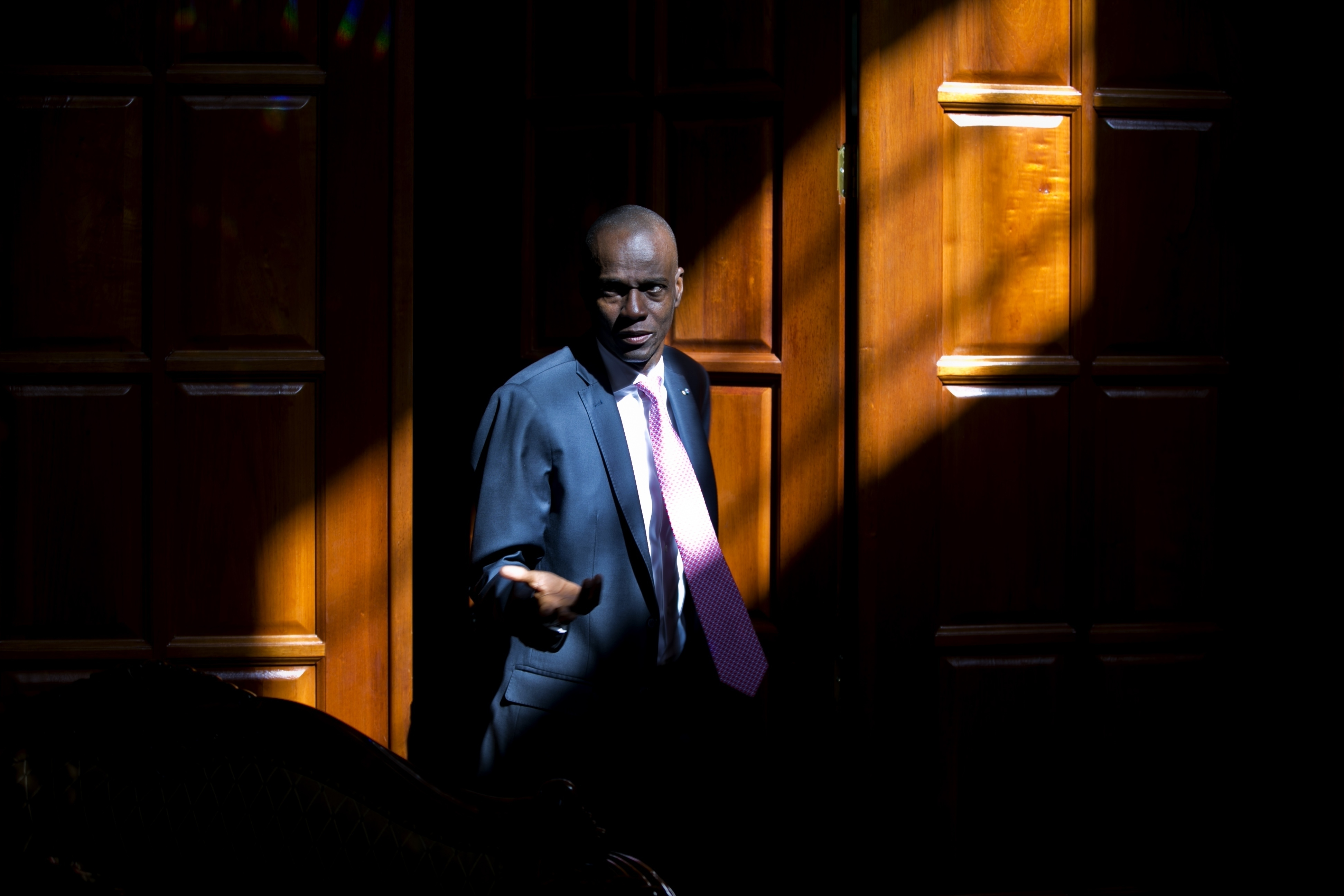 In this Feb. 7, 2020 file photo, Haitian President Jovenel Moise arrives for an interview at his home in Petion-Ville, a suburb of Port-au-Prince, Haiti.