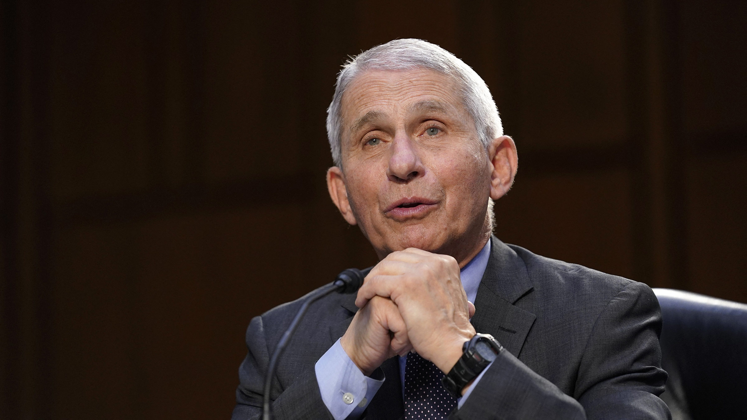 Dr. Anthony Fauci testifies during a Senate Health, Education, Labor and Pensions Committee hearing in Washington, DC, on March 18.