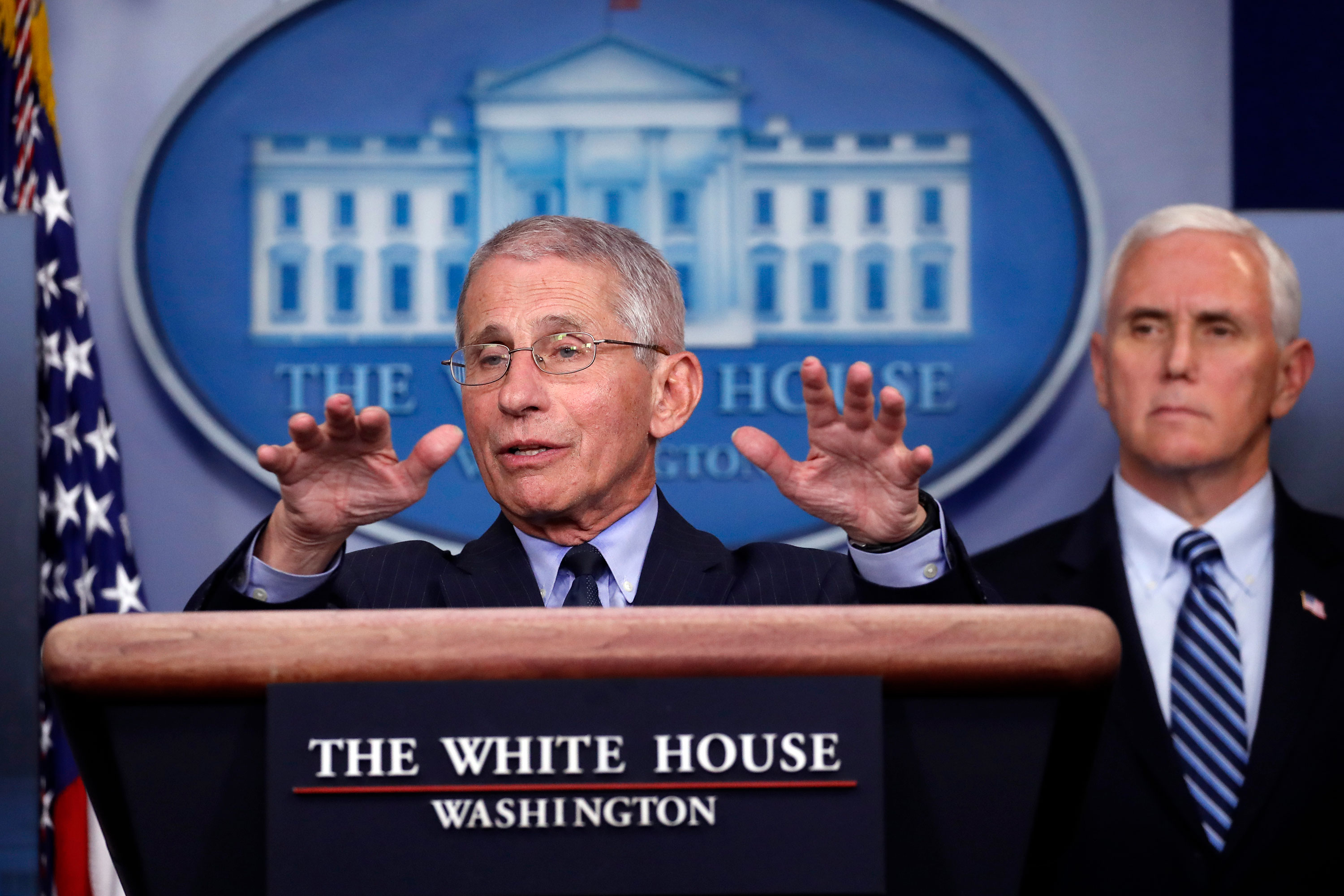 Dr. Anthony Fauci speaks in the James Brady Press Briefing Room of the White House on April 1.