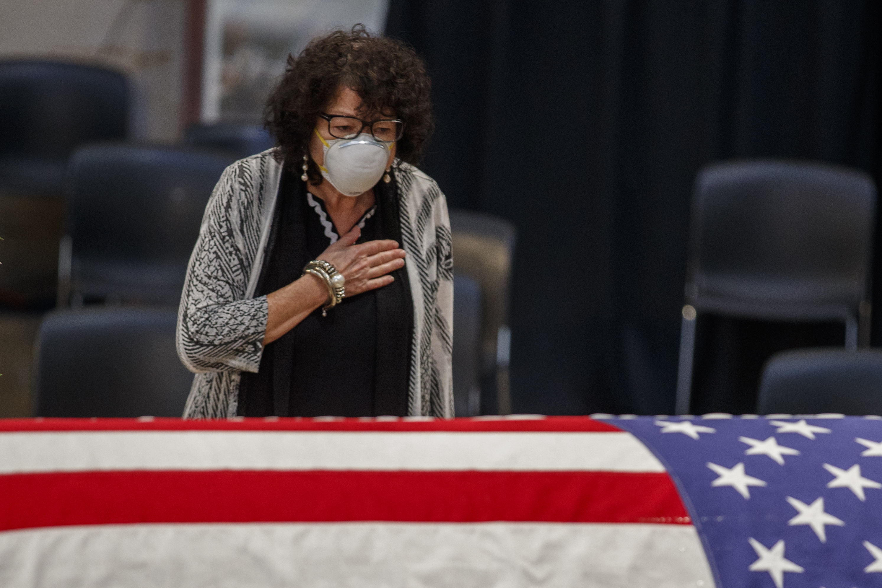 US Supreme Court Sonia Sotomayor pays her respects to Rep. John Lewis at the Capitol in Washington, DC.