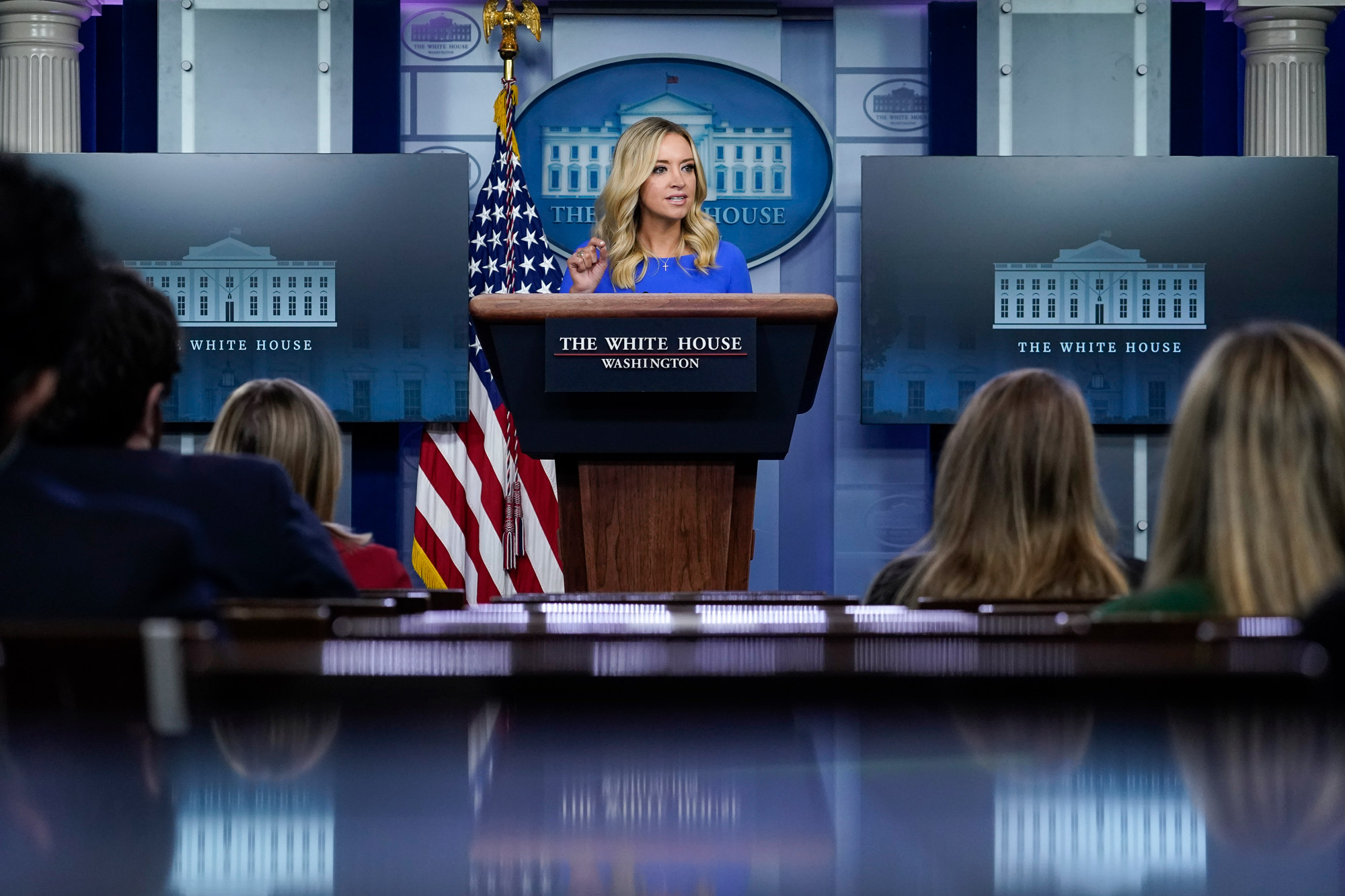 White House Press Secretary Kayleigh McEnany speaks during a press briefing at the White House on October 1 in Washington, DC.
