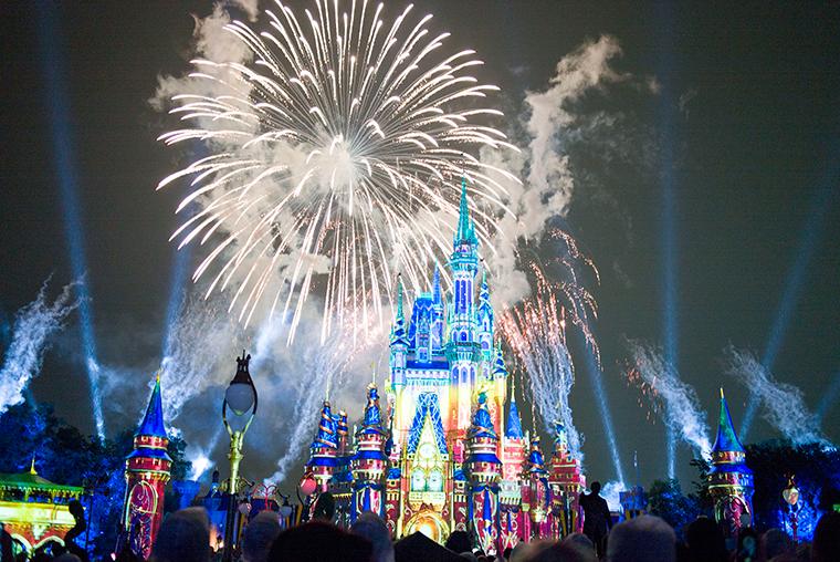 Fireworks go off at the Magic Kingdom Park in Walt Disney World Resort on July 1,  in Lake Buena Vista, Florida.