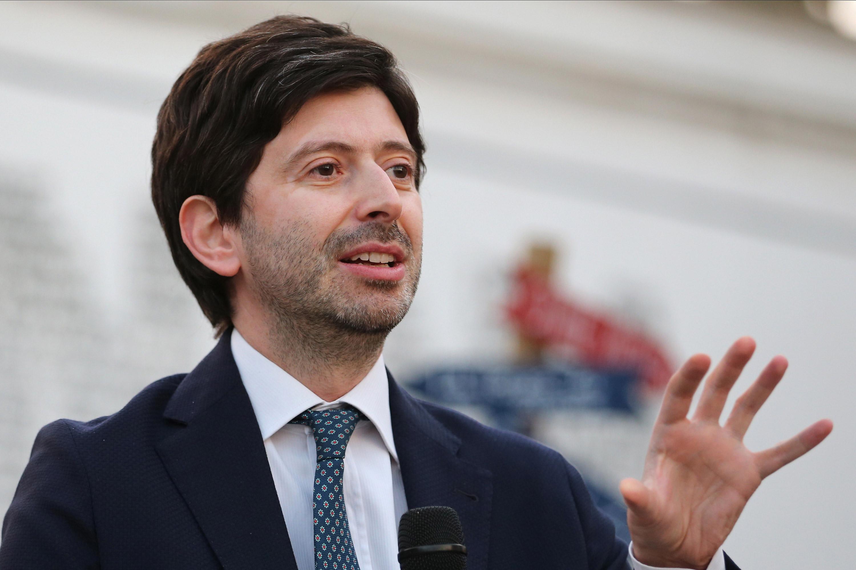 Italian Minister of Health Roberto Speranza speaks at the Don Diana National Award on July 4 in Casal Di Principe, Italy.
