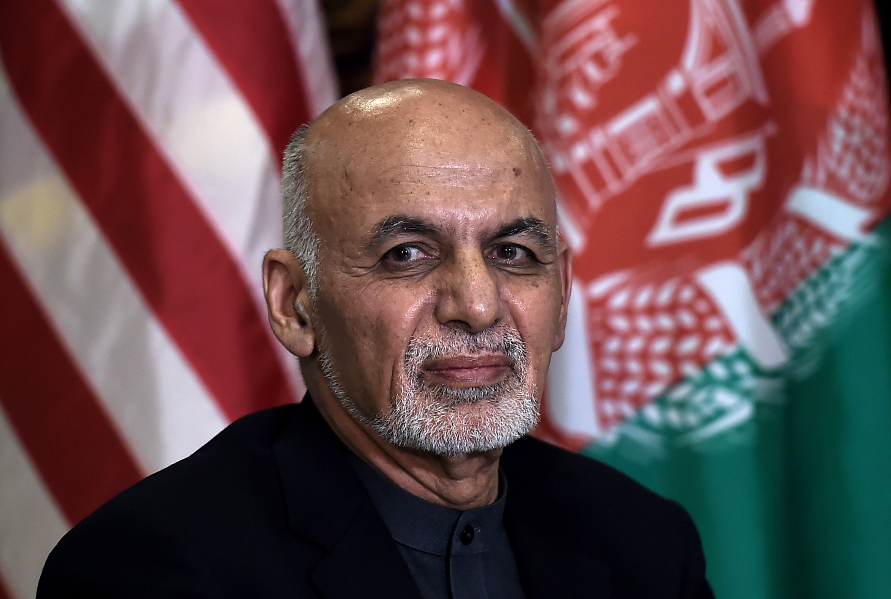Afghanistan President Ashraf Ghani during a meeting with US President Donald Trump at Bagram Airfield on November 28, 2019.