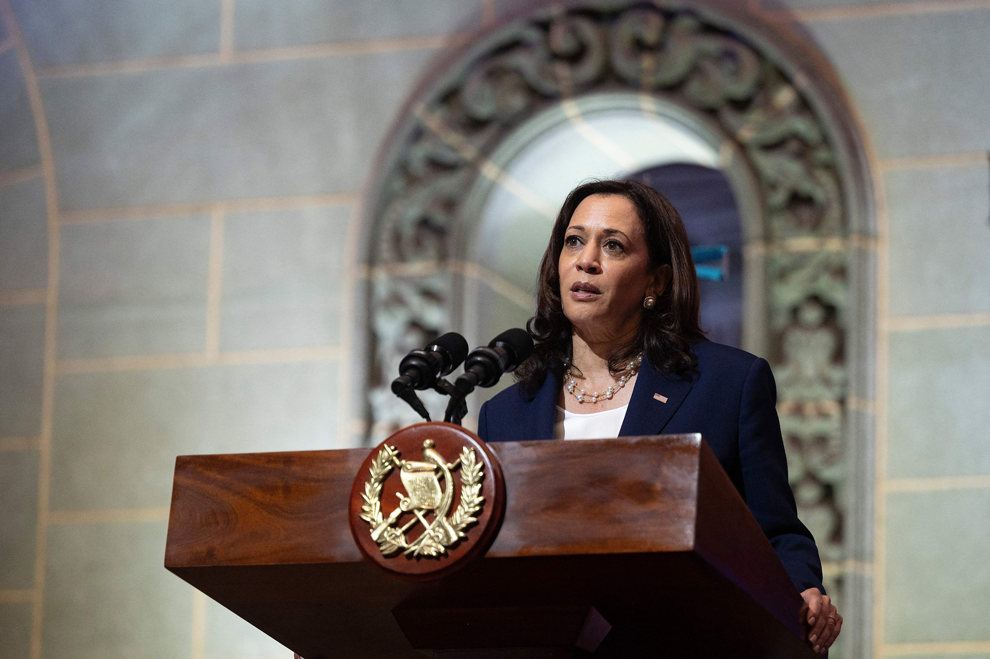 Vice President Kamala Harris speaks during a press conference with Guatemalan President Alejandro Giammattei at the Palacio Nacional de la Cultura in Guatemala City, Guatemala, on June 7.