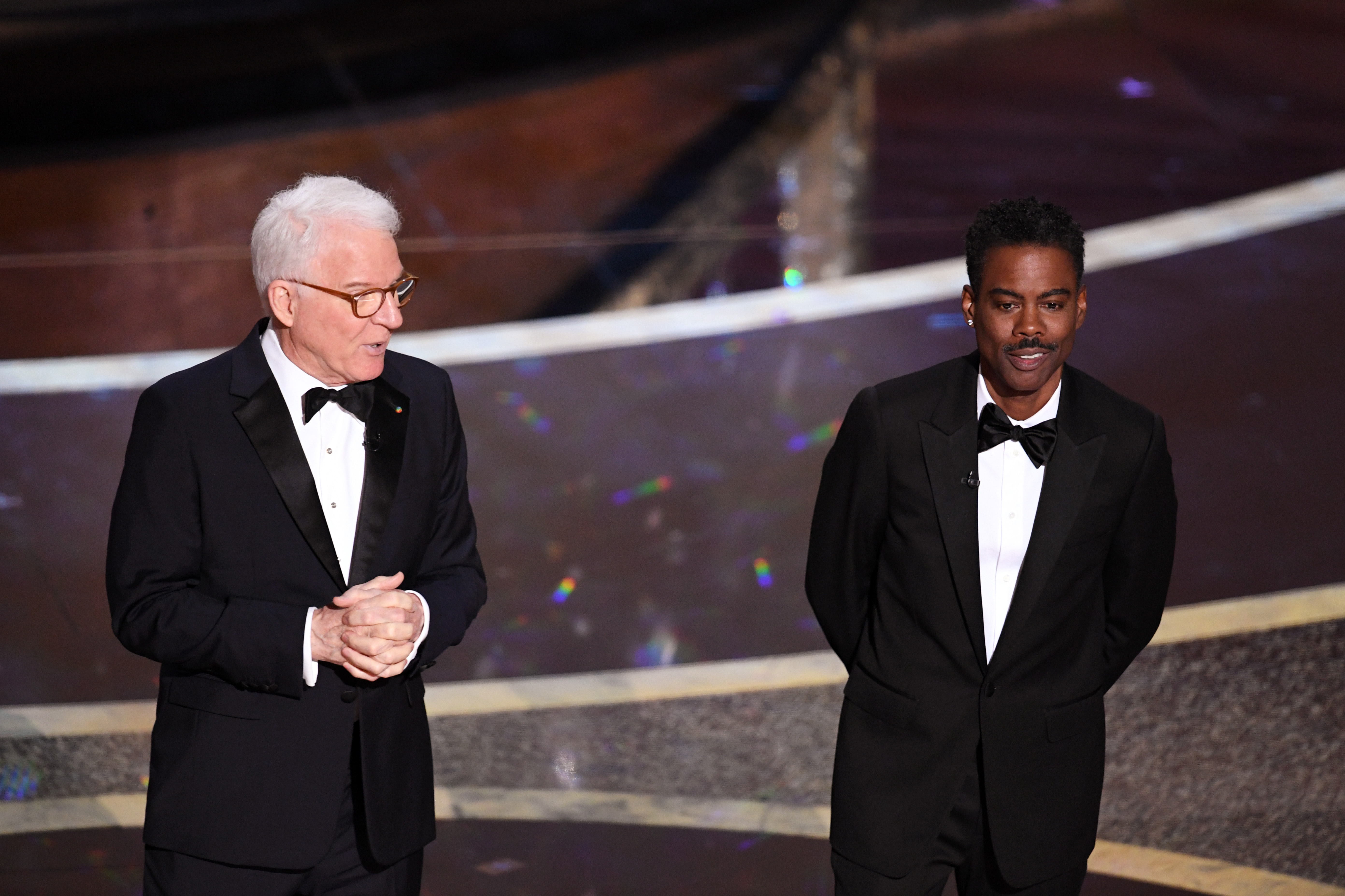 Steve Martin and Chris Rock speak onstage during the 92nd Annual Academy Awards at Dolby Theatre on Feb. 9, 2020 in Hollywood, California.