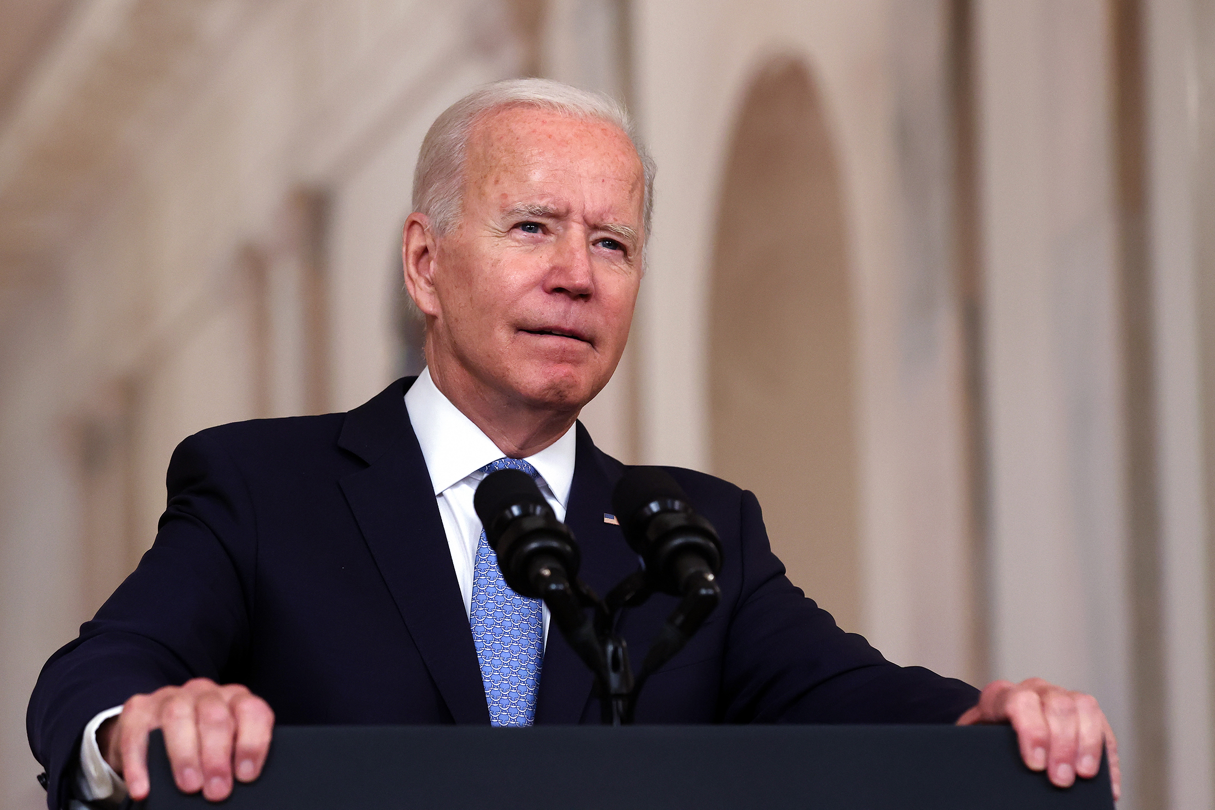 President Joe Biden delivers remarks at the White House on August 31, in Washington, DC.