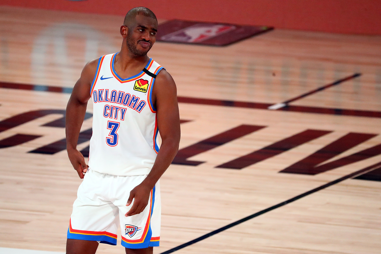 Chris Paul of the Oklahoma City Thunder during a game against the Houston Rockets during the 2020 NBA Playoffs on August 24, in Lake Buena Vista, Florida.