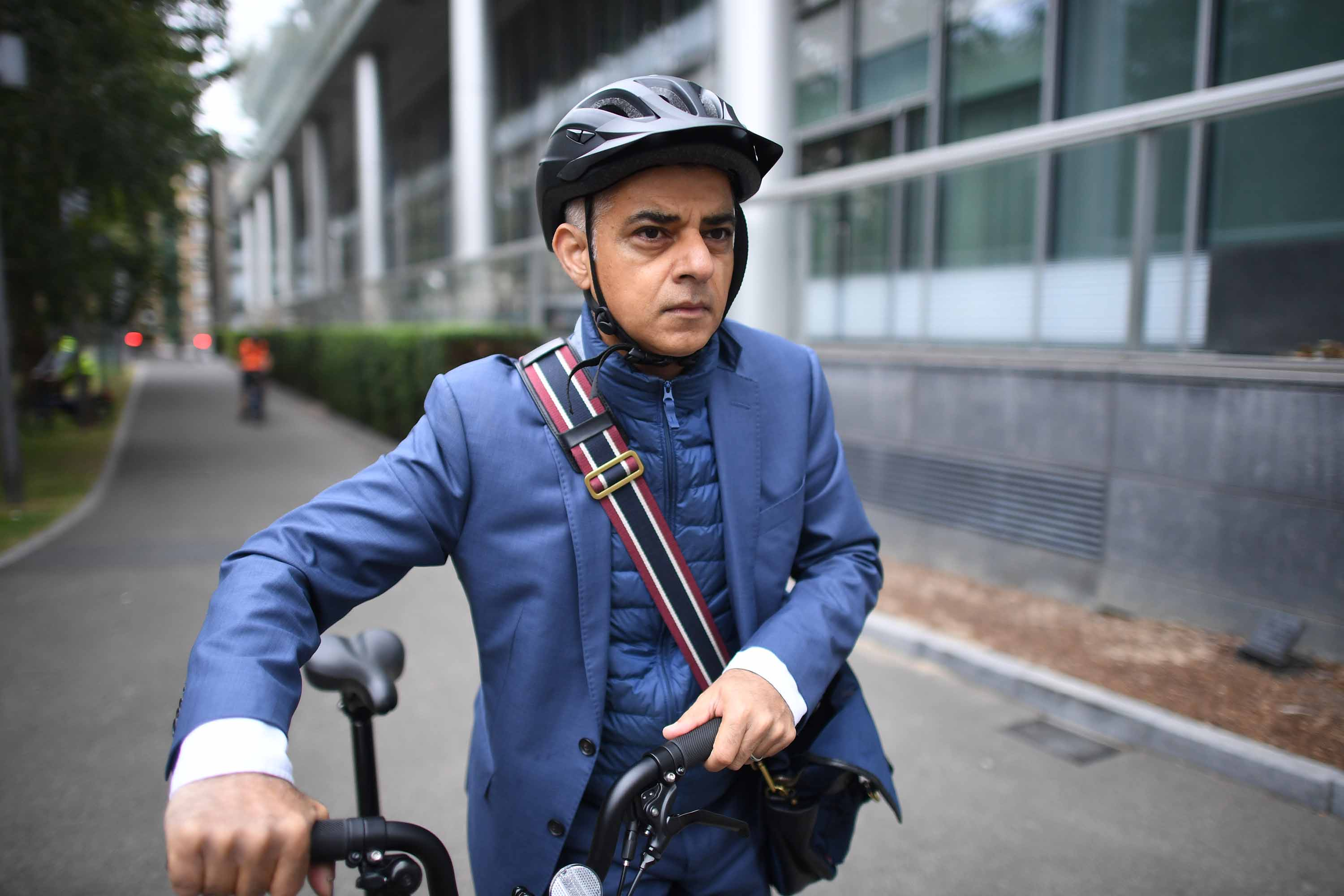 London mayor Sadiq Khan arrives at City Hall in London, after urging ministers to extend regional coronavirus restrictions over the capital, on September 21.