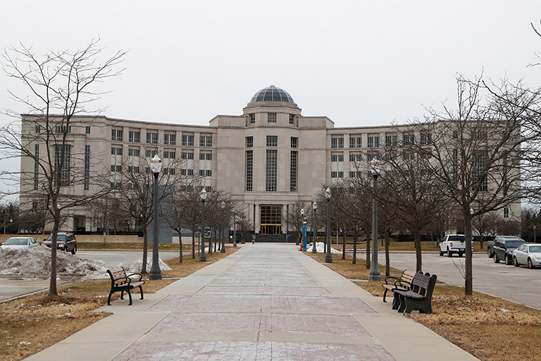 The Michigan Supreme Court's Hall of Justice is seen in Lansing, Michigan.
