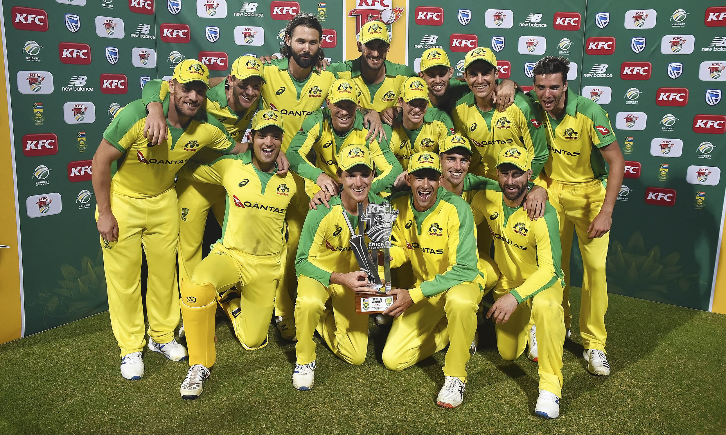 Australia celebrated winning the T20 series against South Africa at Newlands Cricket stadium in Cape Town, South Africa, February 26, 2020.