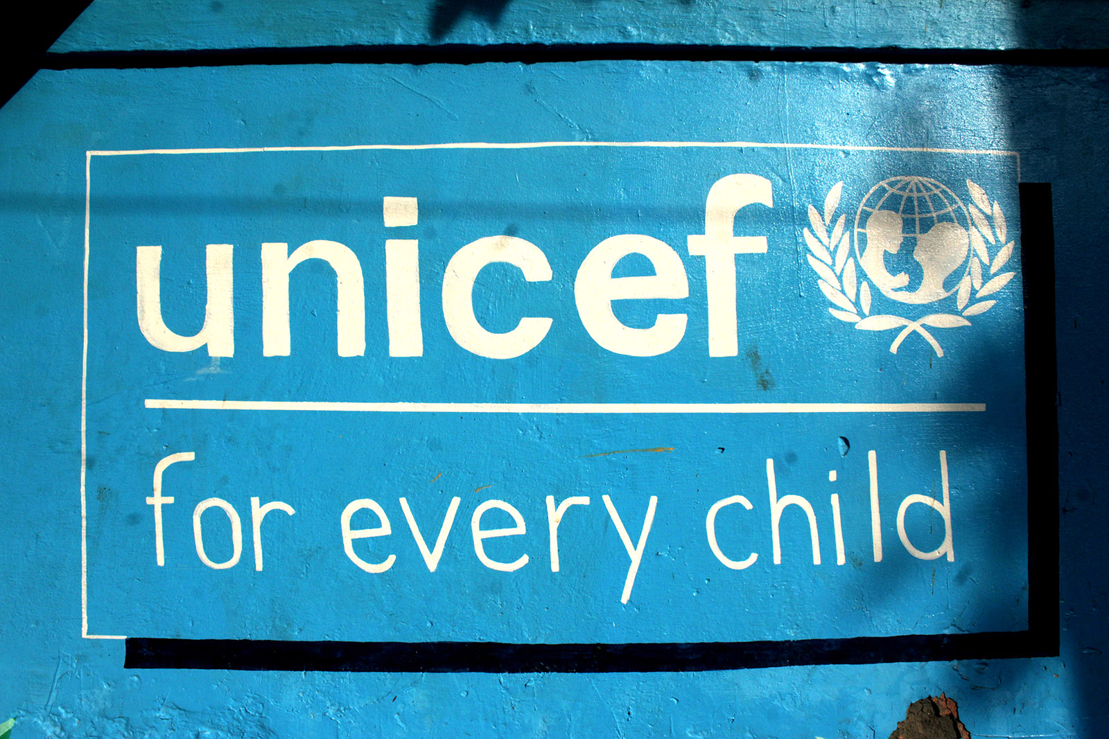 "A mural promoting UNICEF's motto ""for every child"" seen in New Delhi, India on December 21, 2020."