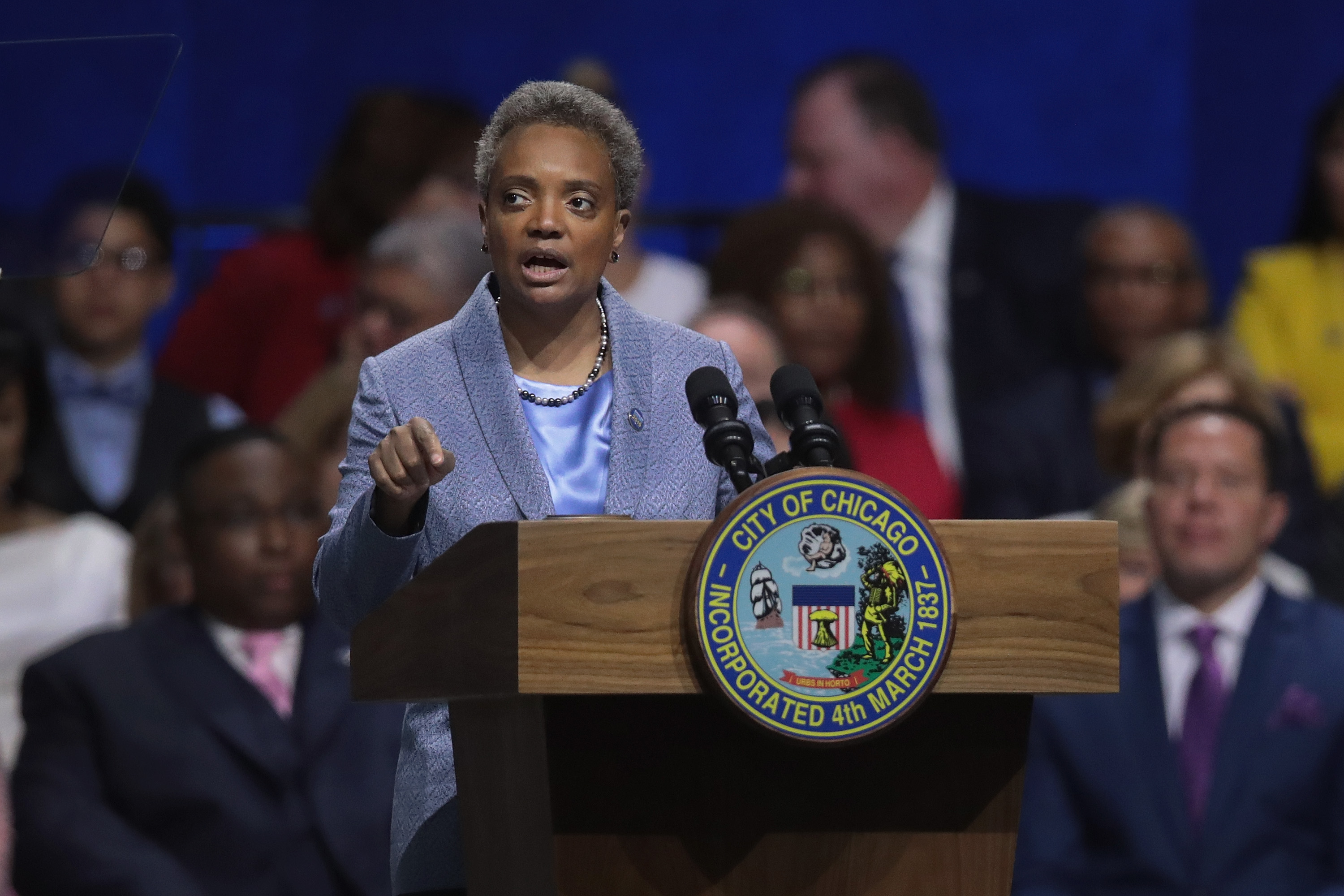 Chicago Mayor Lori Lightfoot speaks after being sworn in as Mayor of Chicago during a ceremony in Chicago, Illinois, on May 20, 2019.