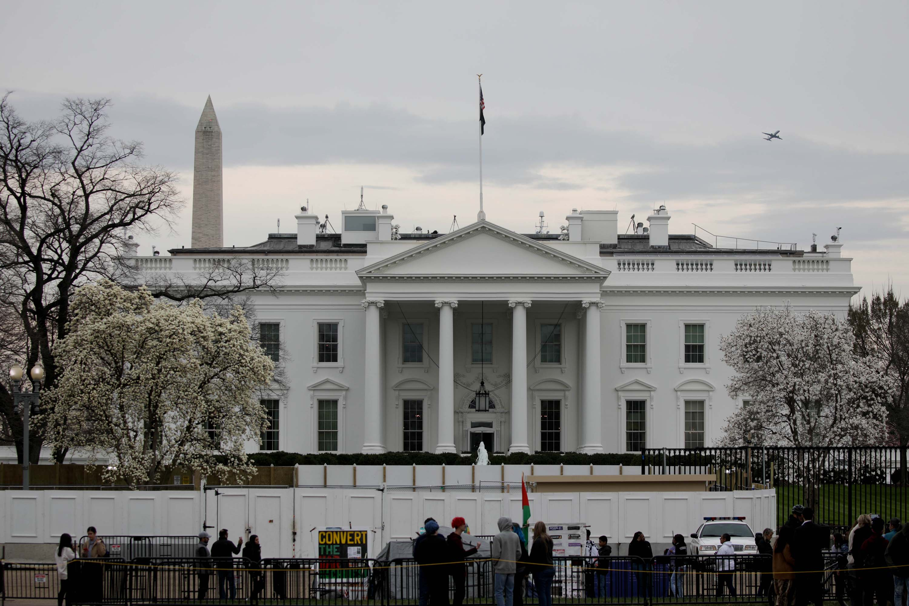 A view of the White House in Washington, DC, on March 11.