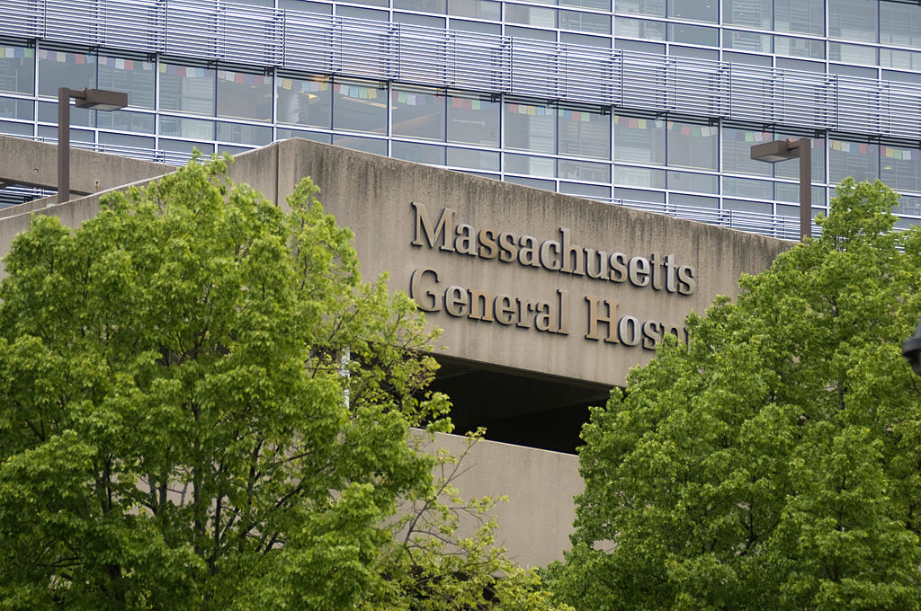 A sign for Massachusetts General Hospital in Boston, Massachusetts.
