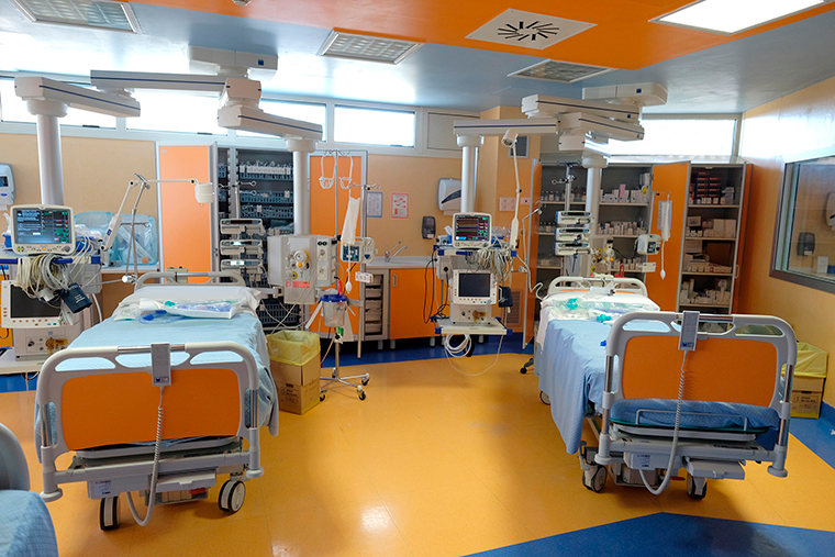Two beds are seen during a tour for the media of ICU positions for coronavirus patients inside the private clinic Istituto Clinico Casalpalocco Covid 3 hospital, in Casalpalocco, on the outskirts of Rome, Wednesday, March 18.