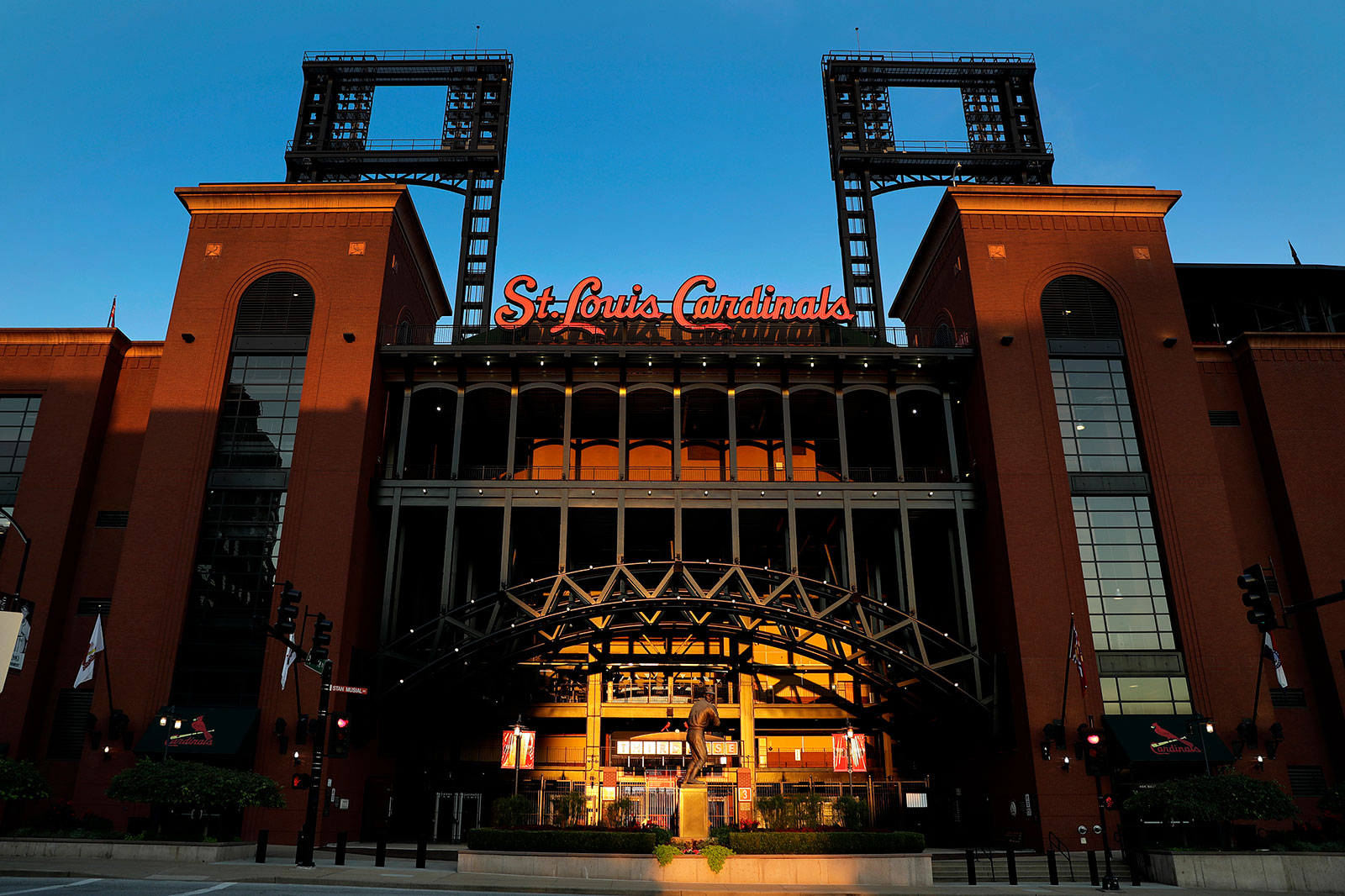 The exterior of Busch Stadium in St. Louis on Friday, August 7.