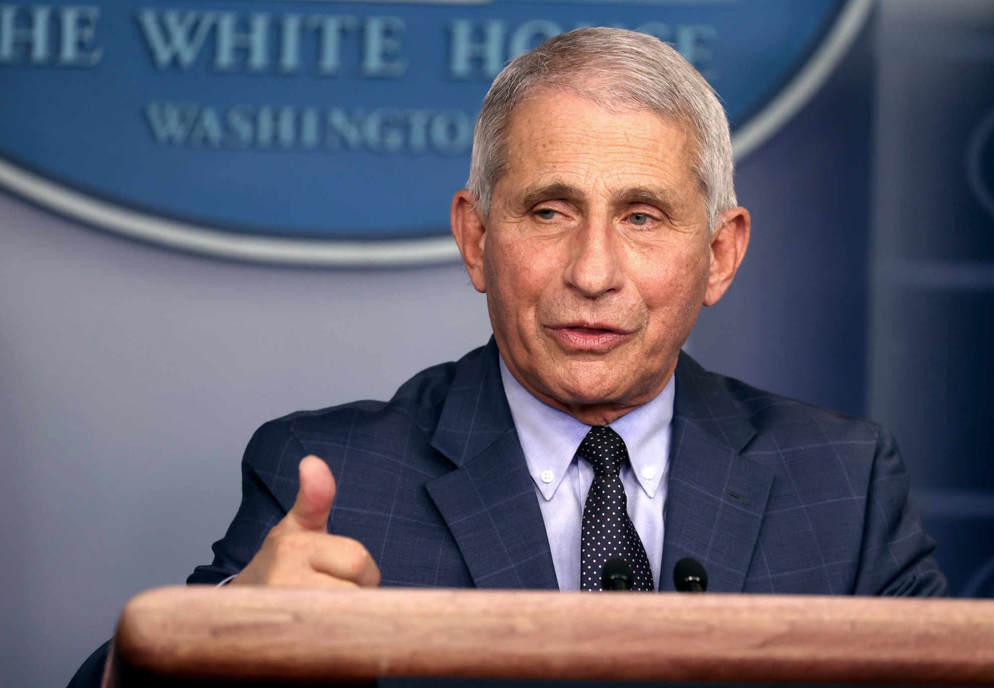 Dr. Anthony Fauci, director of the National Institute of Allergy and Infectious Diseases, speaks during a White House Coronavirus Task Force press briefing at the White House on November 19 in Washington, DC.