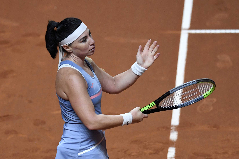 Georgia's Ekaterine Gorgodze reacts during the Women's Tennis Grand Prix WTA 500 tournament in Stuttgart, Germany, on April 21.