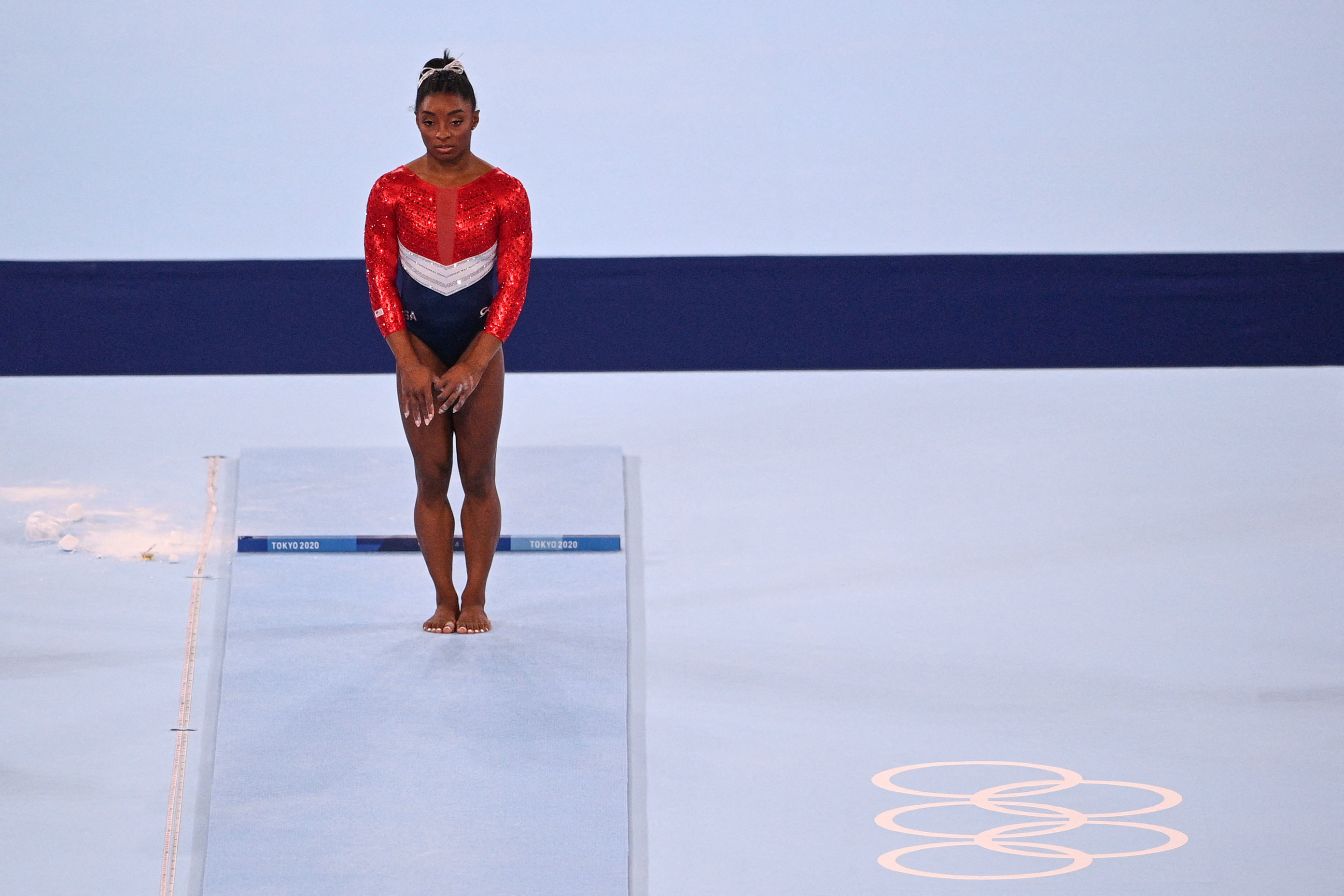 US gymnast Simone Biles waits before competing in the vault event during the team final on July 27.