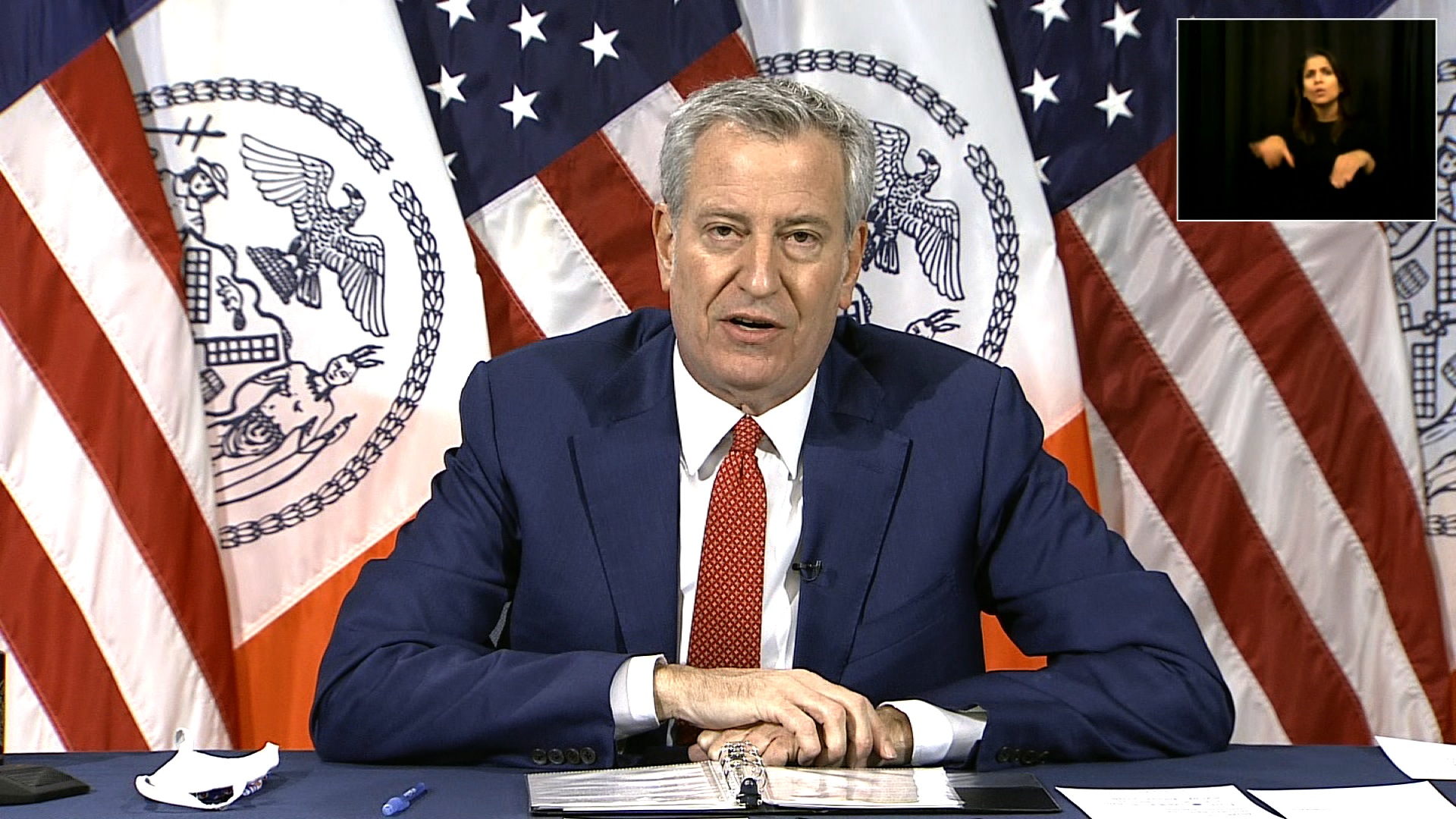 New York City Mayor Bill de Blasio speaks during a press conference in New York City on December 8.