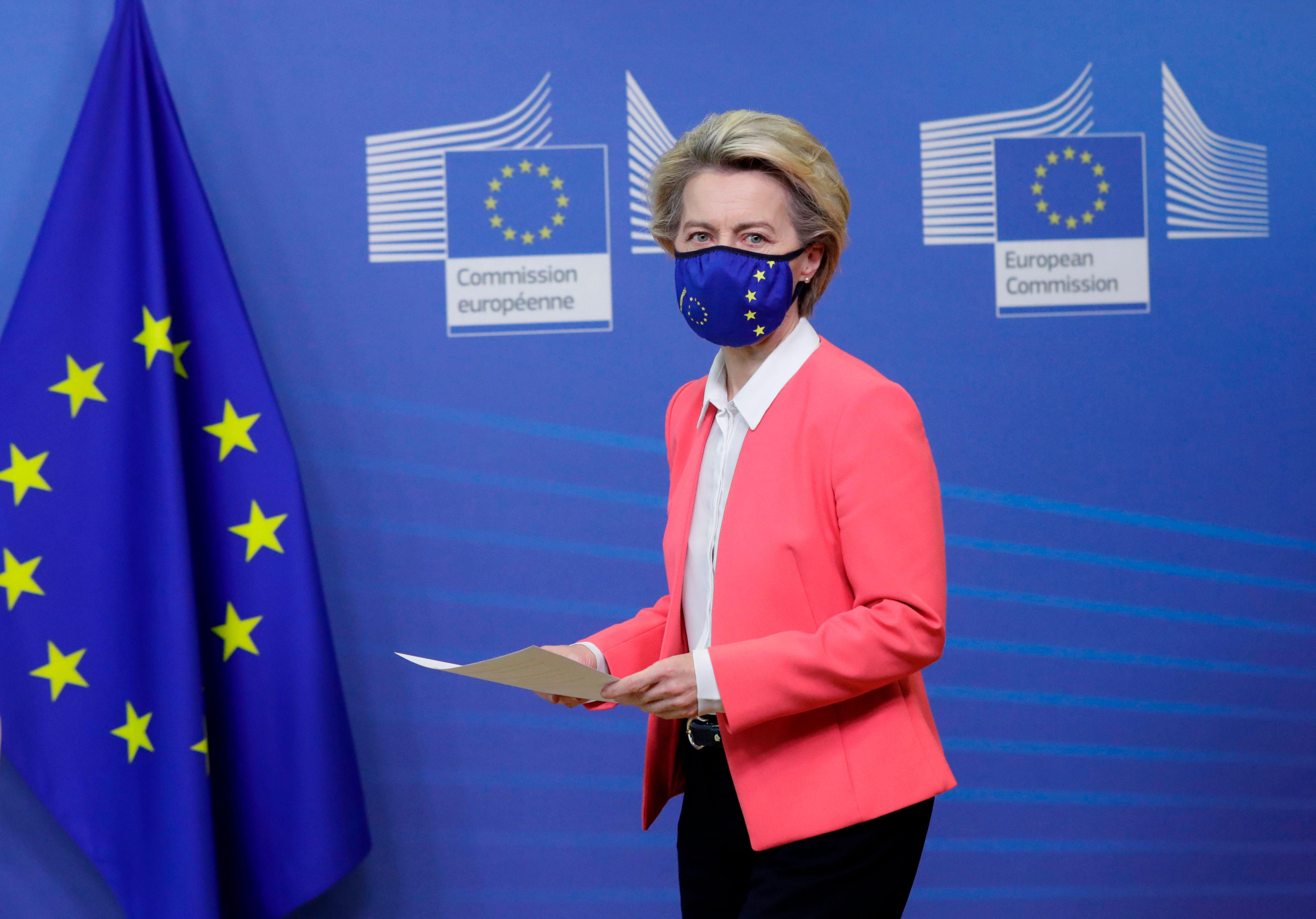 European Commission President Ursula von der Leyen arrives for a press statement in Brussels, Belgium, on December 13.