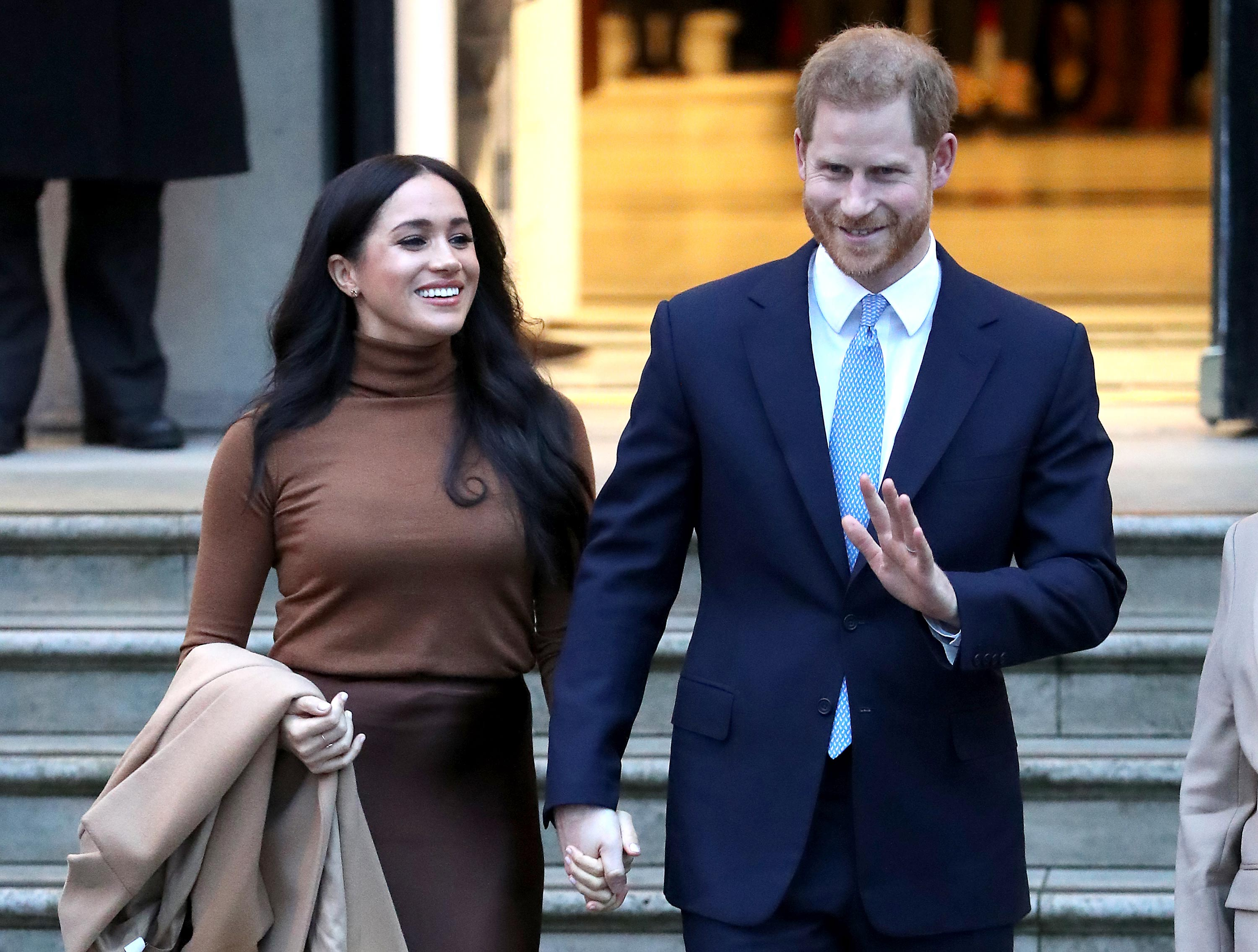 Prince Harry, Duke of Sussex and Meghan, Duchess of Sussex depart Canada House in London on January 7, 2020.