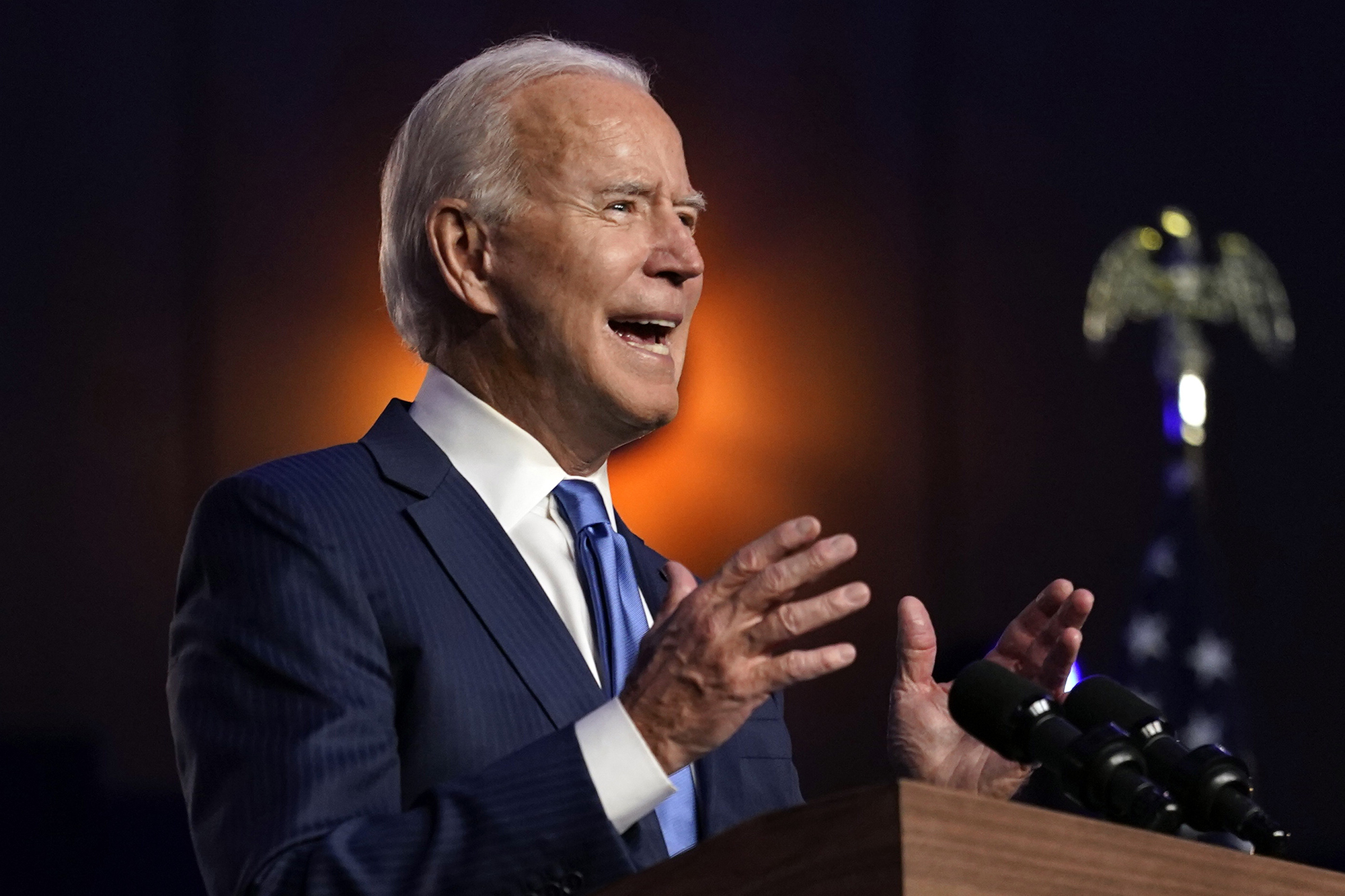 Democratic presidential candidate Joe Biden speaks on Friday in Wilmington, Delaware.