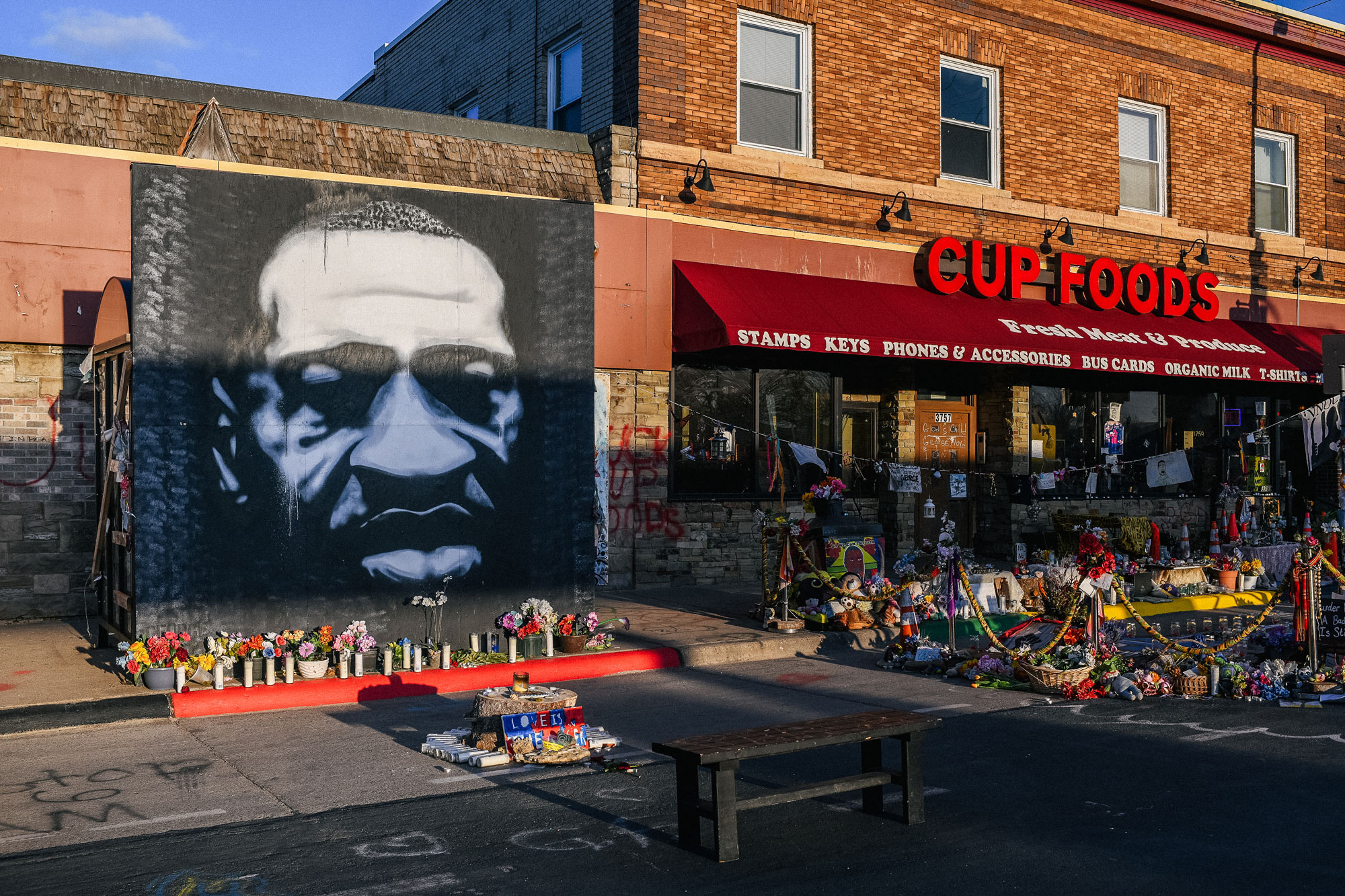 A mural of George Floyd is shown at the intersection of 38th St & Chicago Ave on March 31 in Minneapolis, Minnesota.