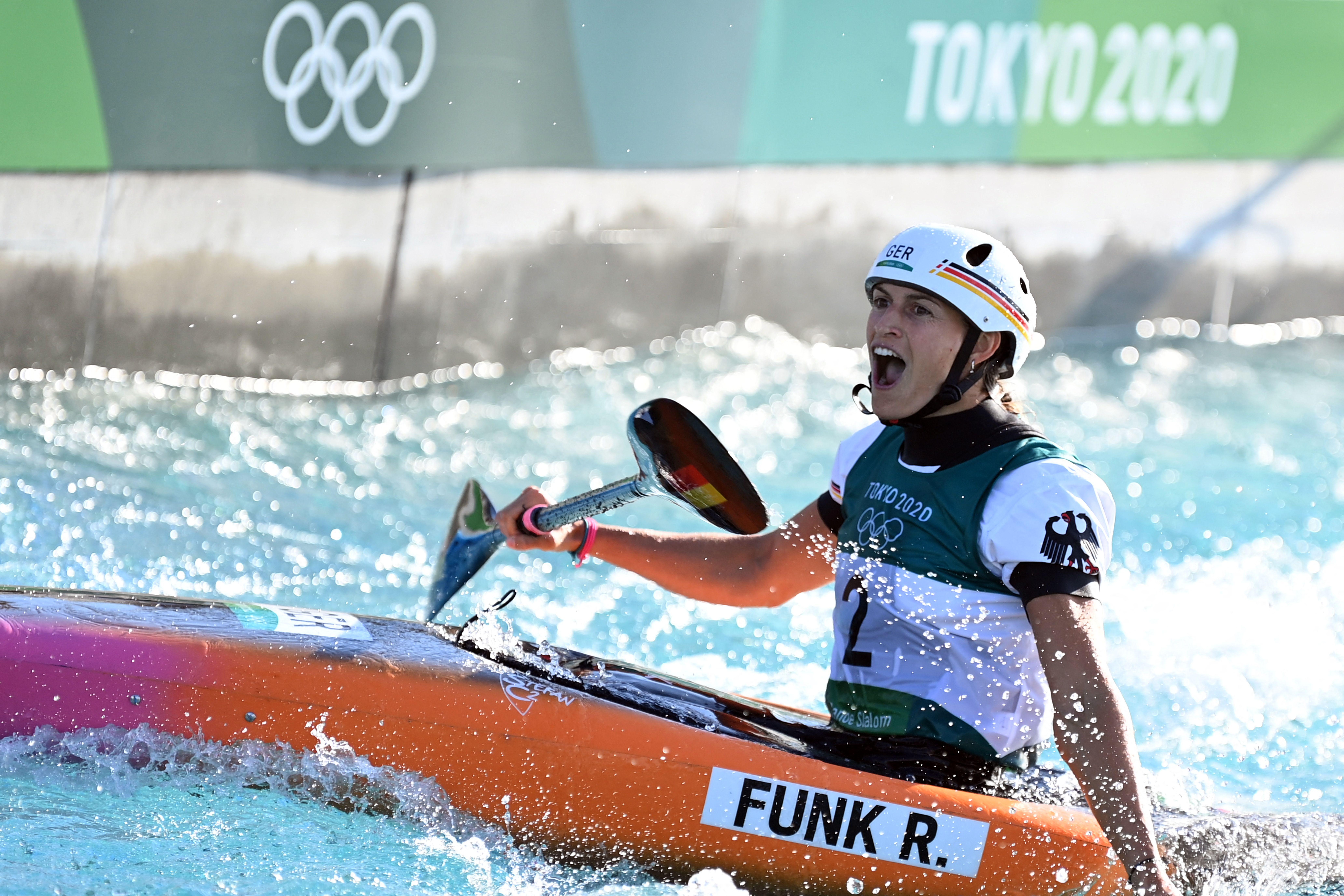 Ricarda Funk celebrates during the final of the canoe slalom.