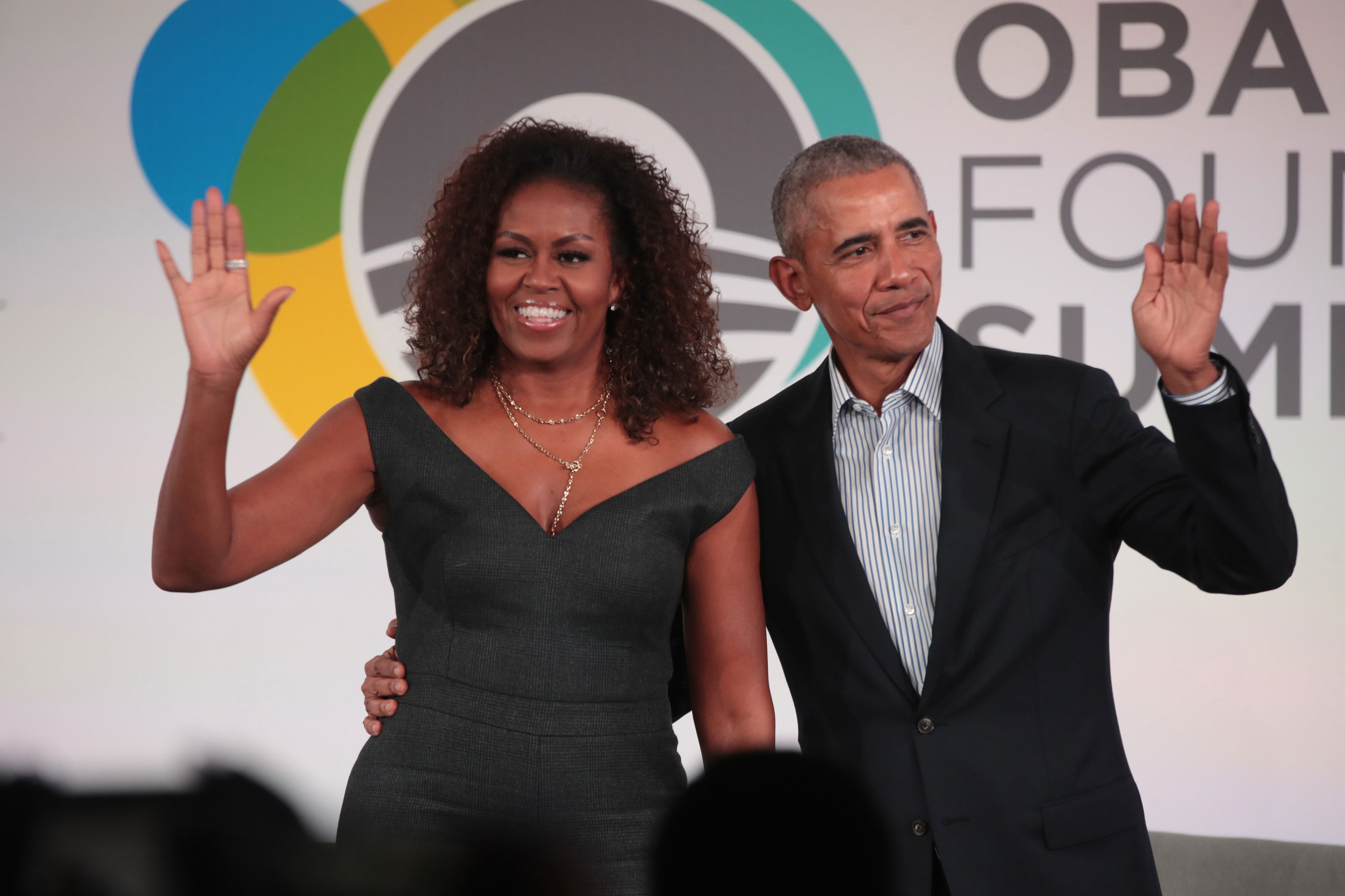 Former U.S. President Barack Obama and his wife Michelle close the Obama Foundation Summit together on the campus of the Illinois Institute of Technology on October 29, in Chicago.