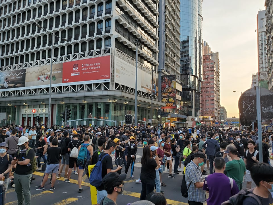Protesters take over Nathan Road again on Monday in Hong Kong.