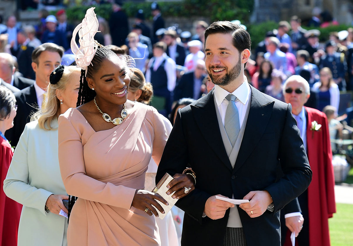 Tennis player Serena Williams and her husband Alexis Ohanian arrive for the wedding ceremony of Britain's Prince Harry, Duke of Sussex, and actress Meghan Markle at St George's Chapel, Windsor Castle, in Windsor, on May 19, 2018.