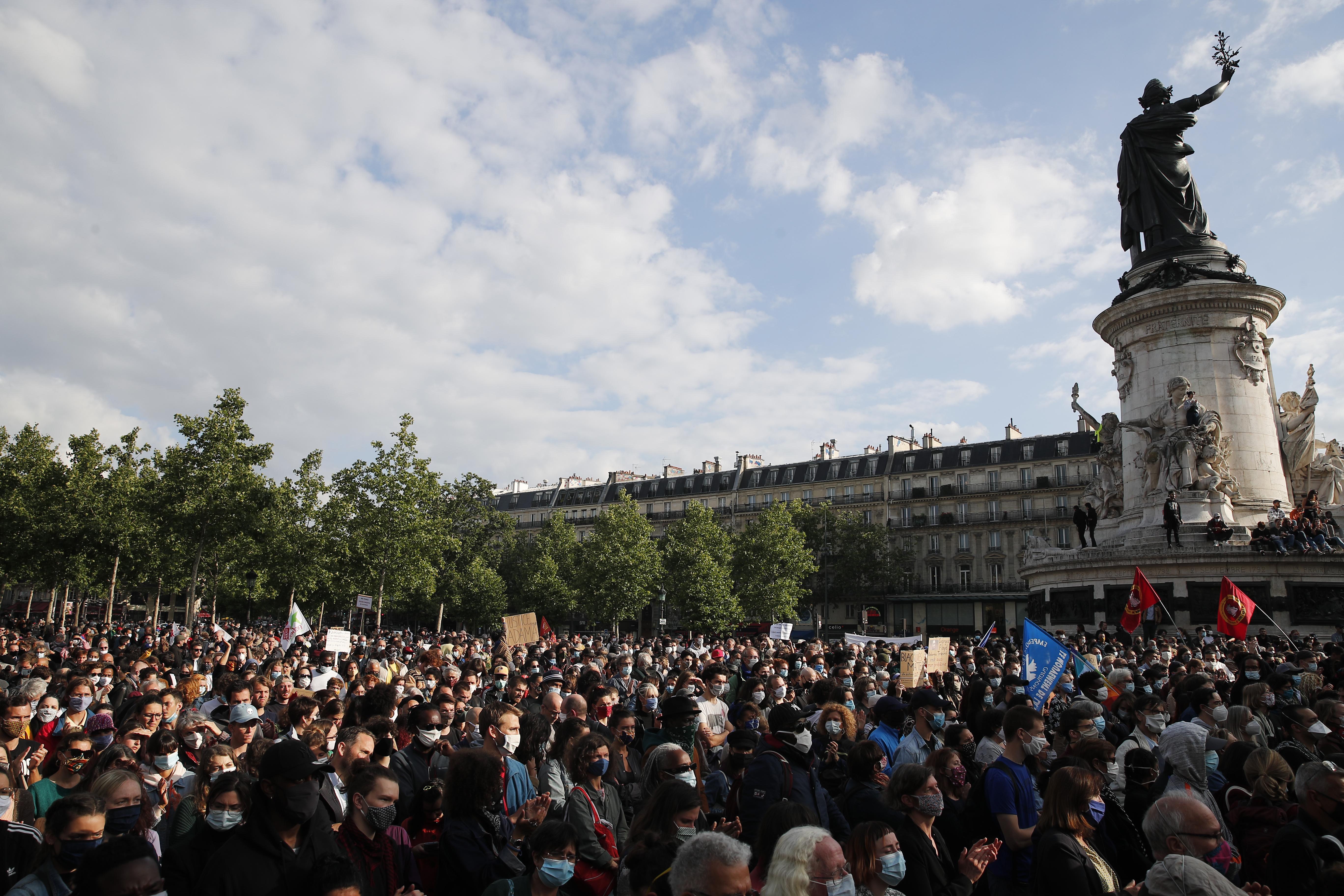 Demonstrators gather during a rally against racism June 9 on the Place de la Republique in Paris