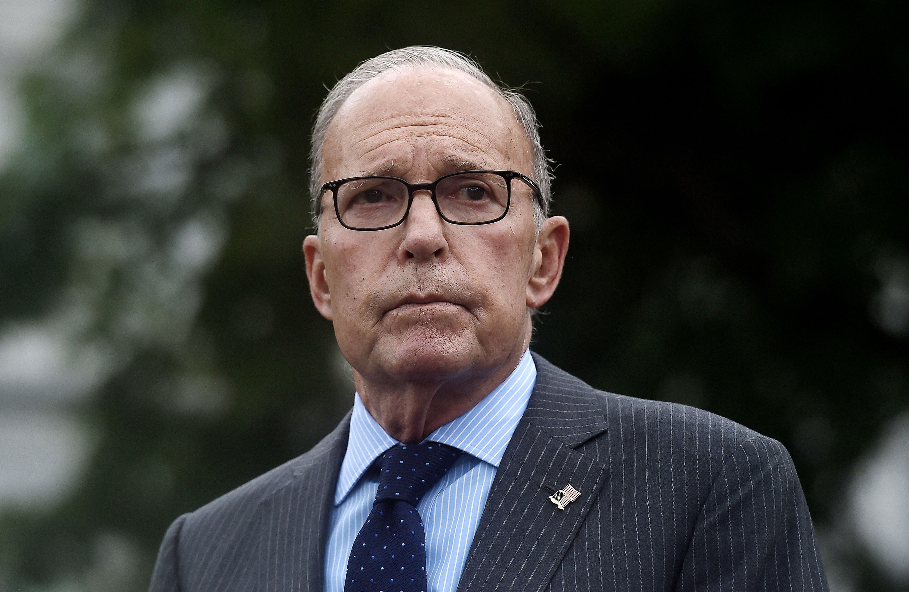 Larry Kudlow speaks to reporters outside the West Wing of the White House on September 2.