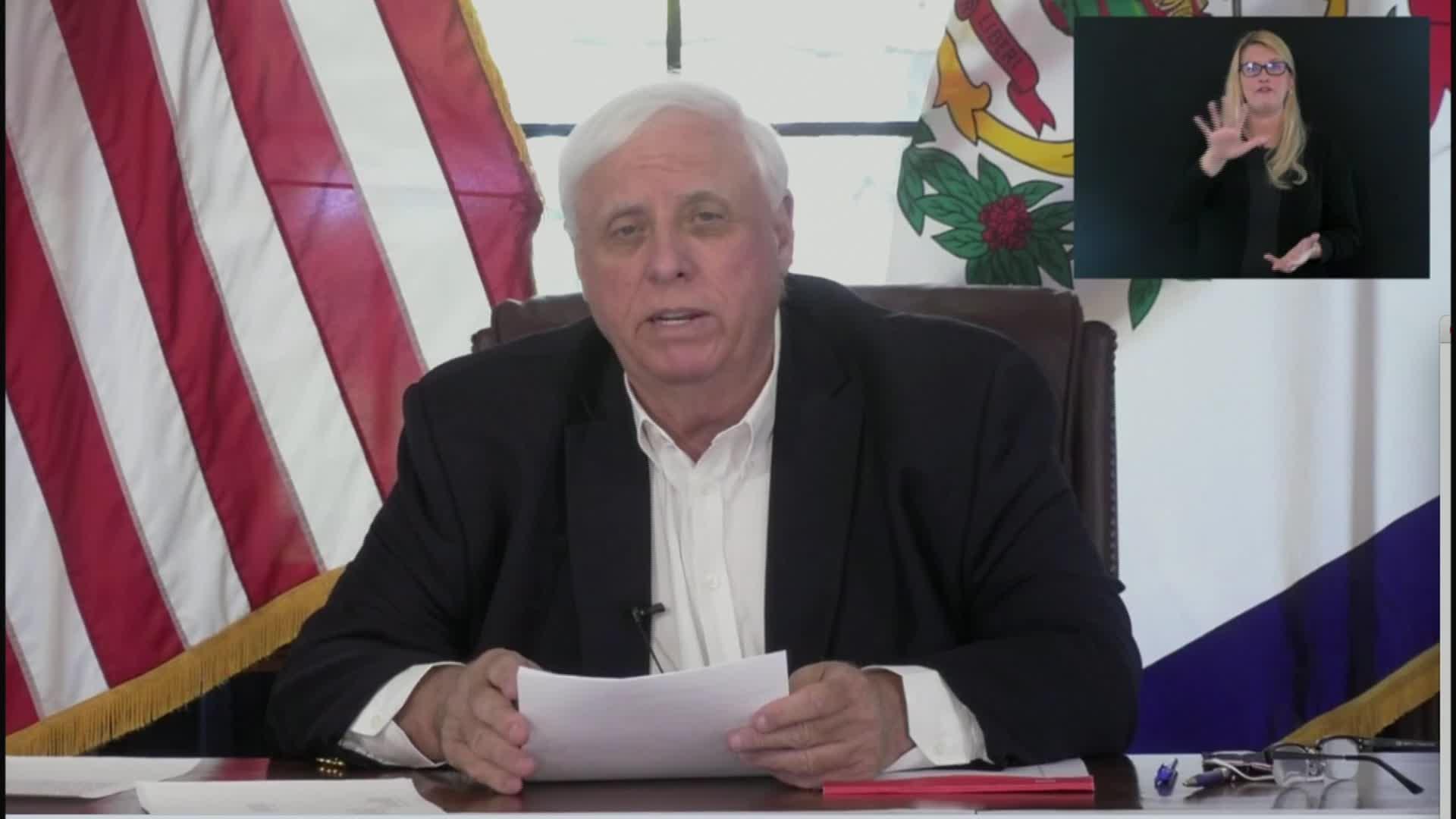 West Virginia Gov. Jim Justice speaks during a press conference on November 25.